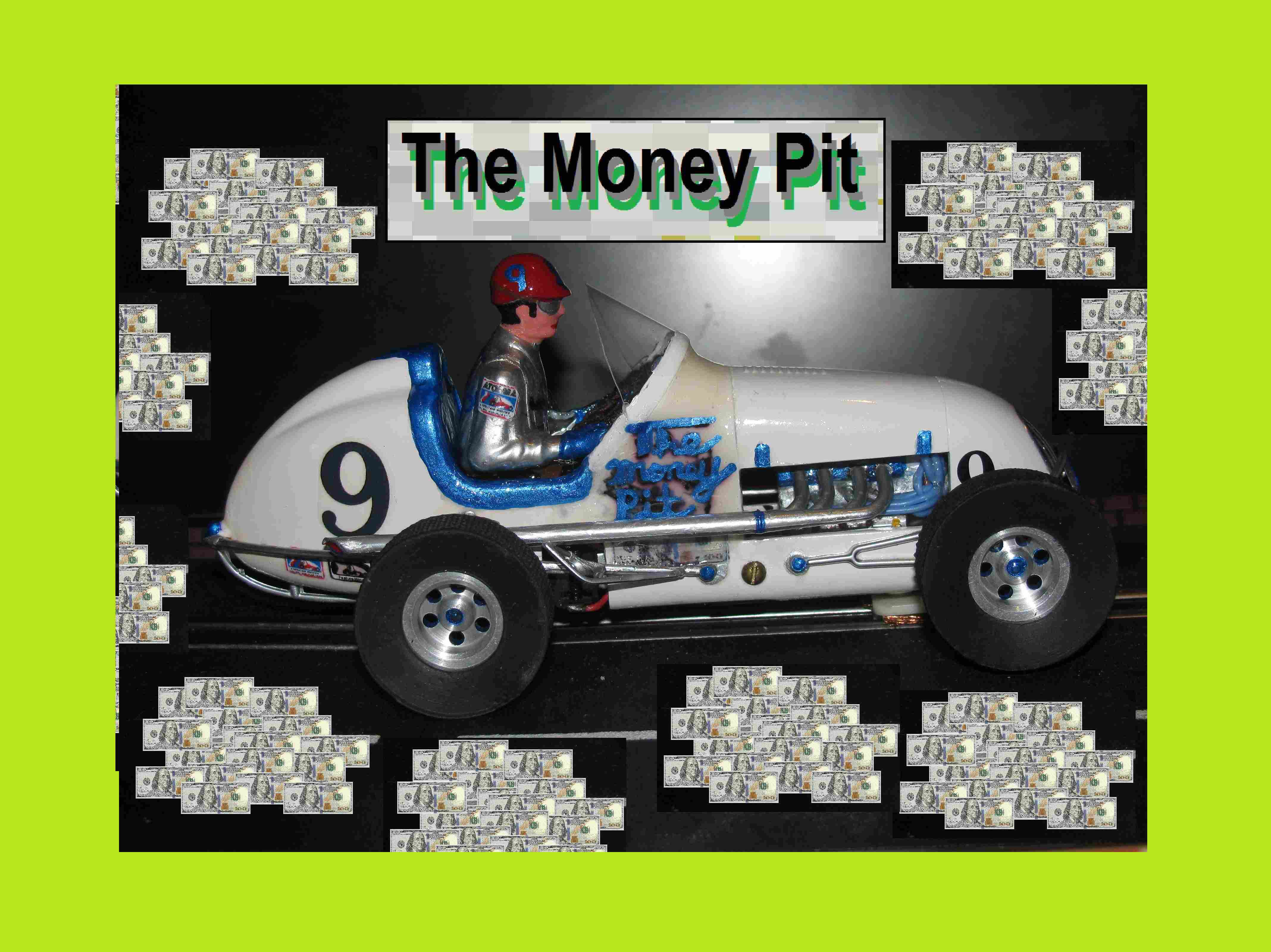 "* SOLD * Vintage Monogram Midget Racer ""The Money Pit"" Slot Car # 9"
