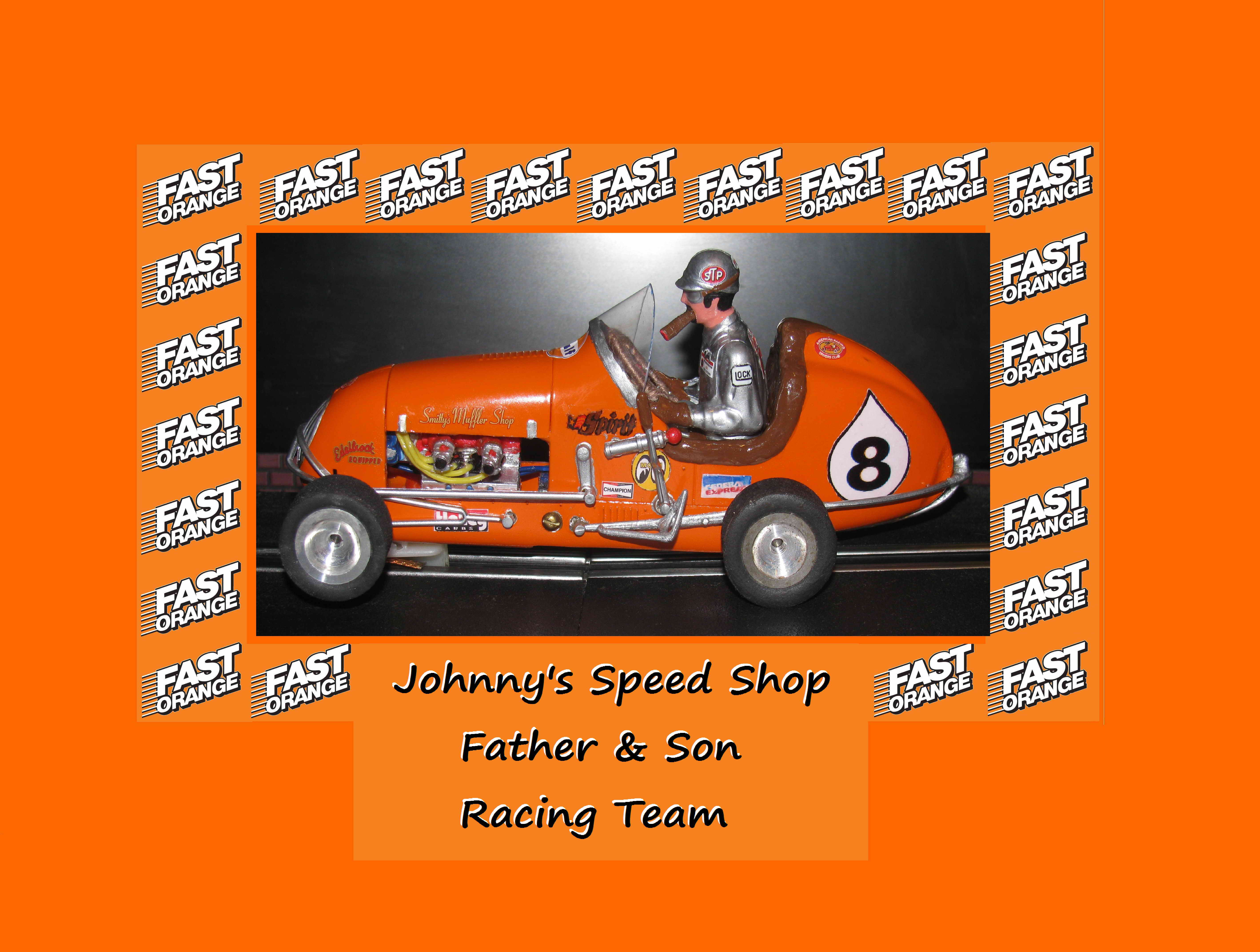 "* SOLD * Vintage Monogram Midget Racer Slot ""Johnny's Speed"" Shop Father & Son ""Fast Orange"" Racing Car 8"