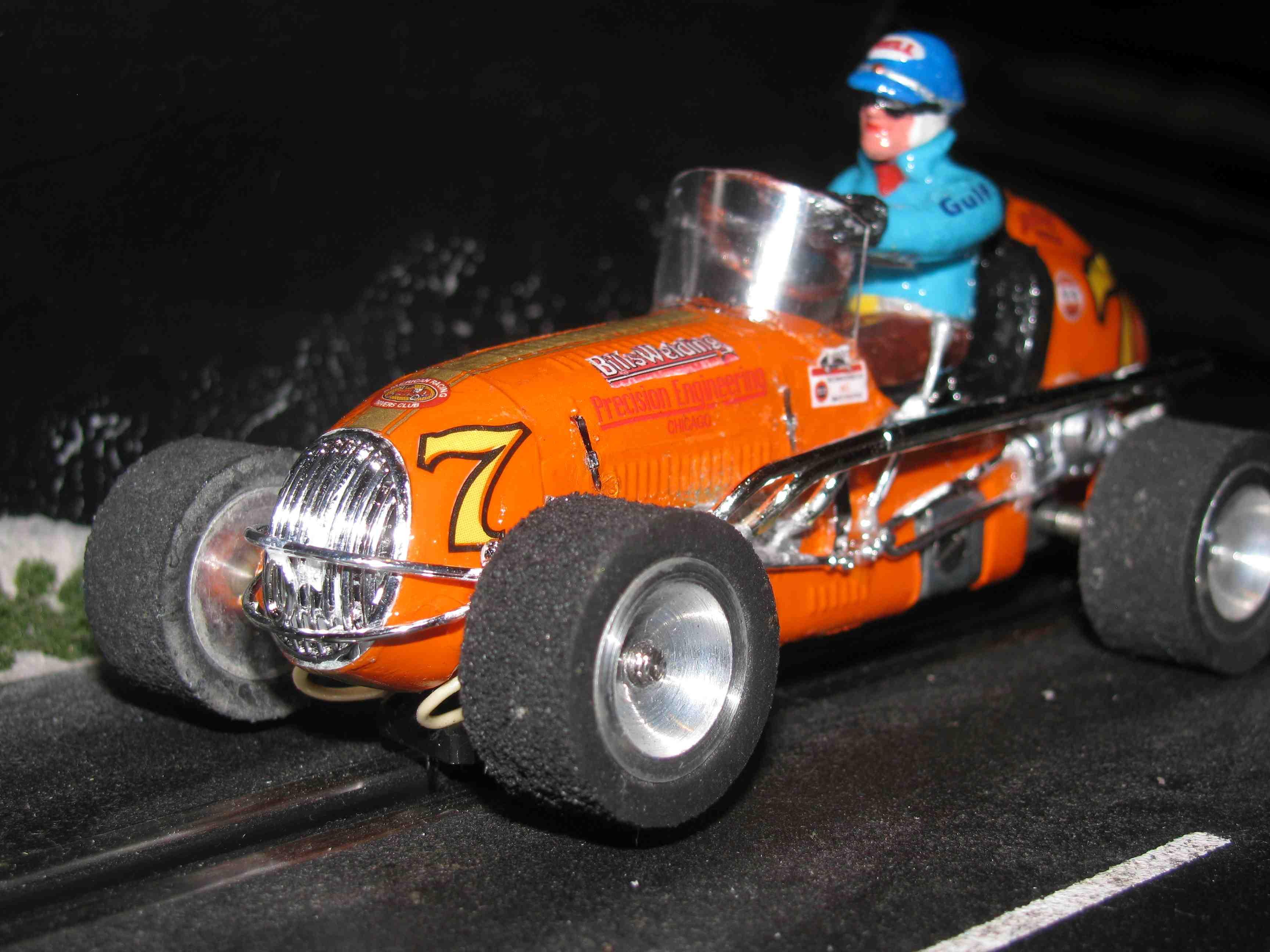 "* SOLD * Vintage Revell Midget Racer ""Bills Welding & Precision Engineering"" Slot Car 1/32 Scale – Orange – Car #7"