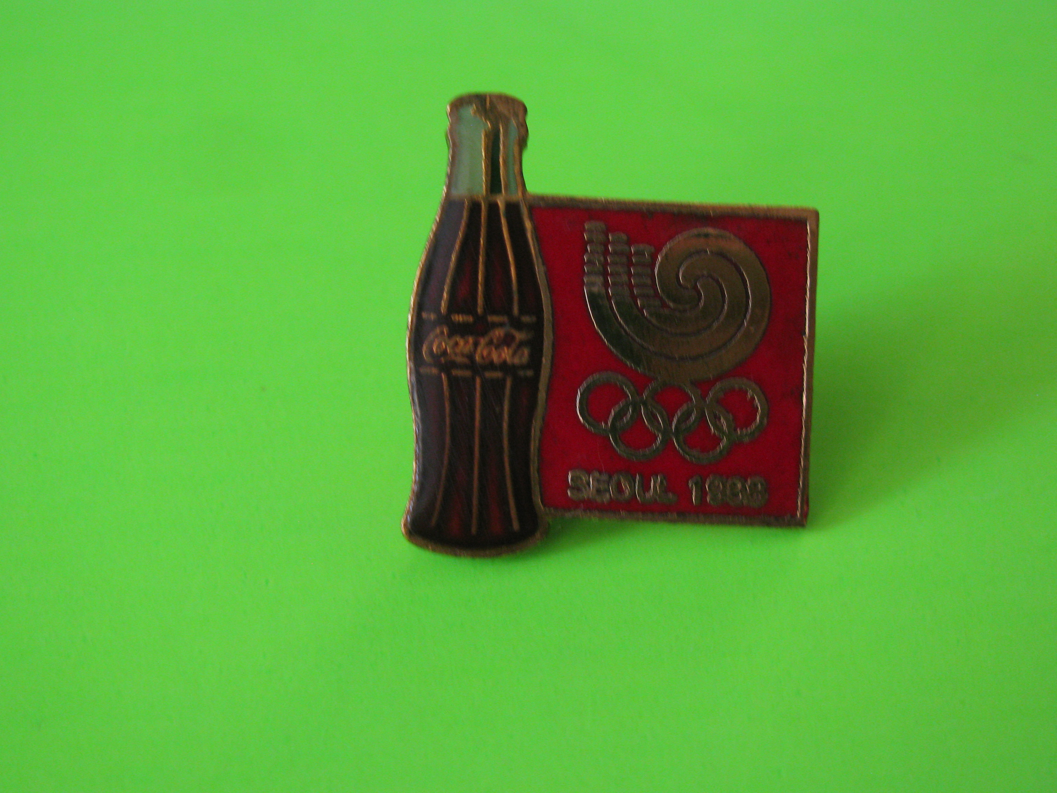 Vintage 1988 SEOUL Olympic Games Coca Cola Promo Pin with Butterfly Clutch
