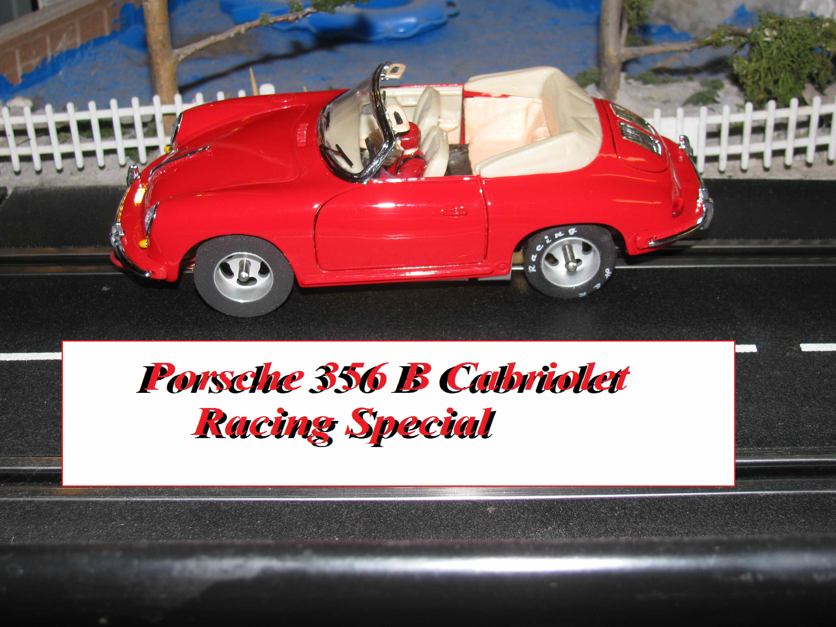 * Winter Super Sale * Porsche 356 B Cabriolet Custom Slot Car Racer with many Modifications 1/24 Scale