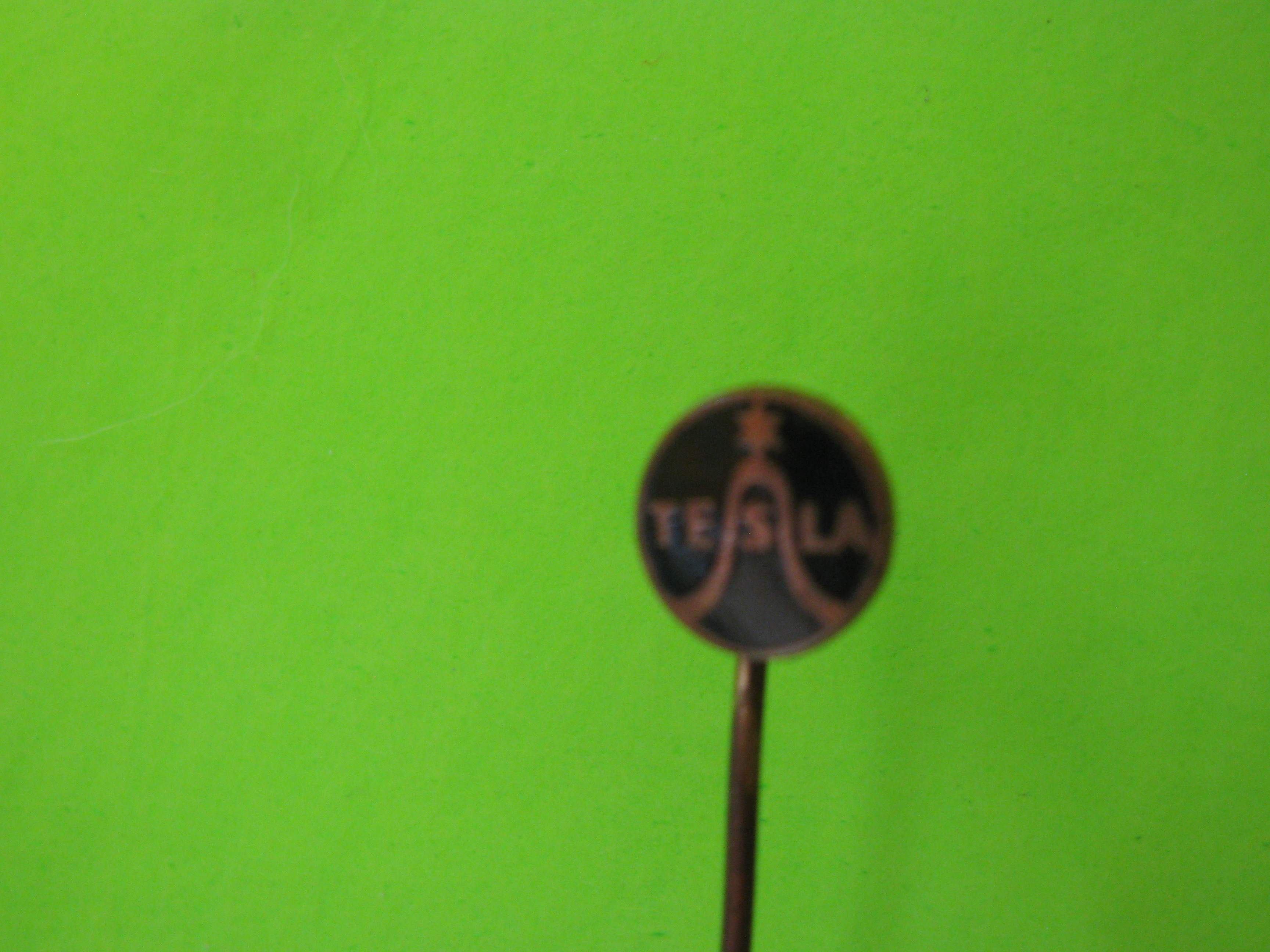 Vintage Tesla Stick Pin, Metal with Black Colored Background
