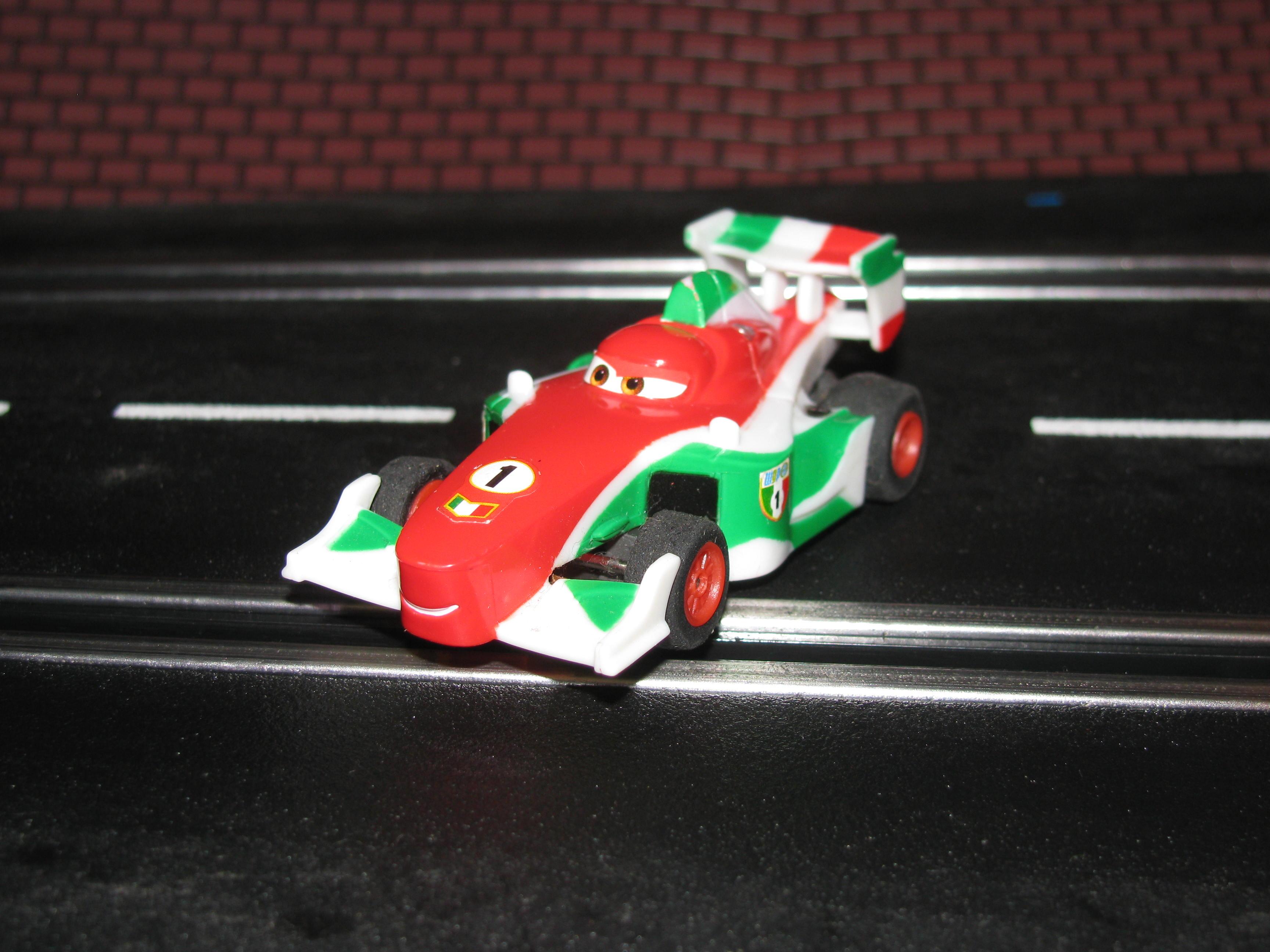 0 - SOLD - HO Formula One Slot Car #1 Francesco Bernoulli (Disney/Pixar) with Guide Post