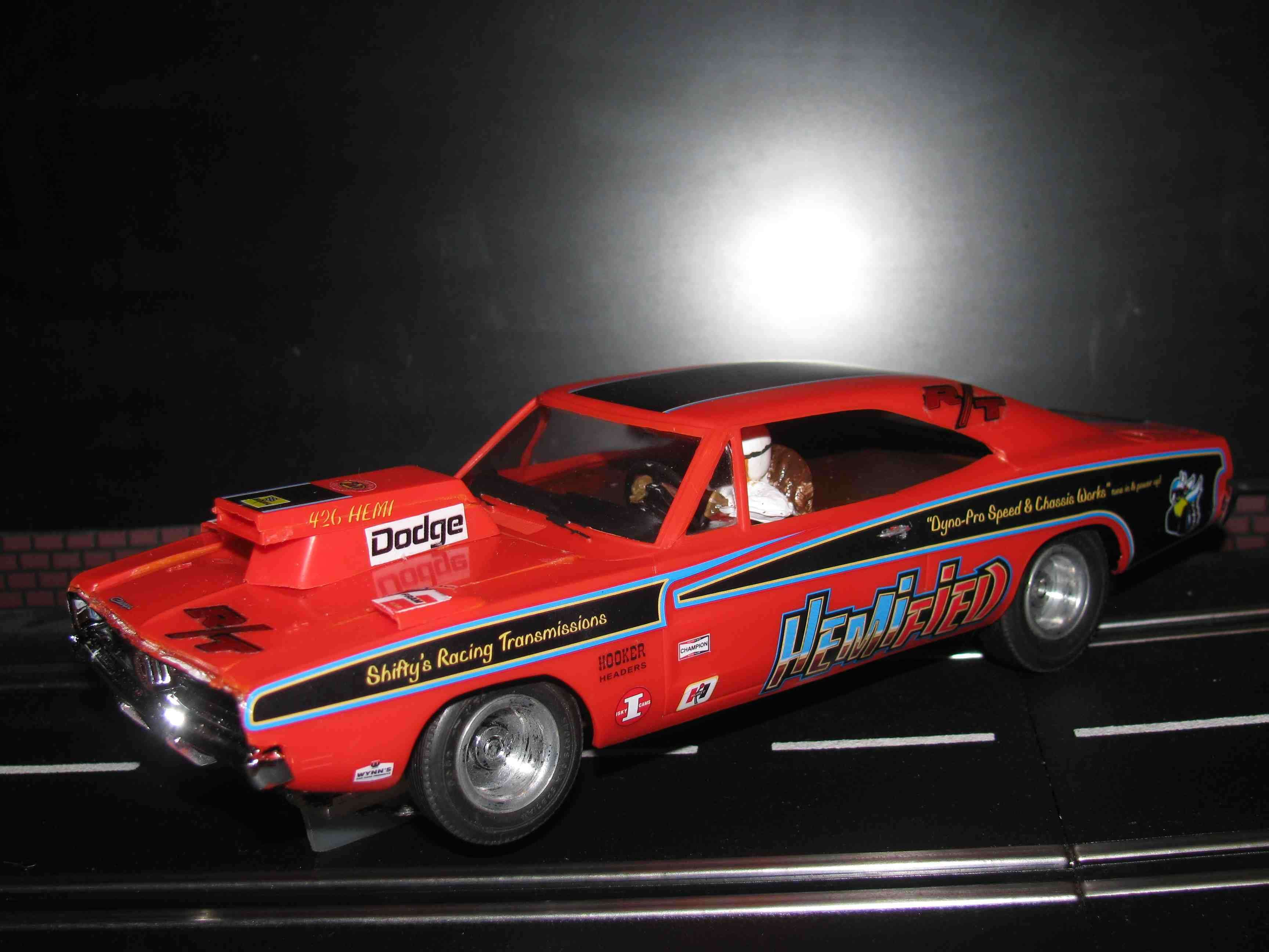 "***SOLD*** Vintage 1968 Dodge Charger R/T ""HemiField"" Slot Car 1/24 Scale - Orange"