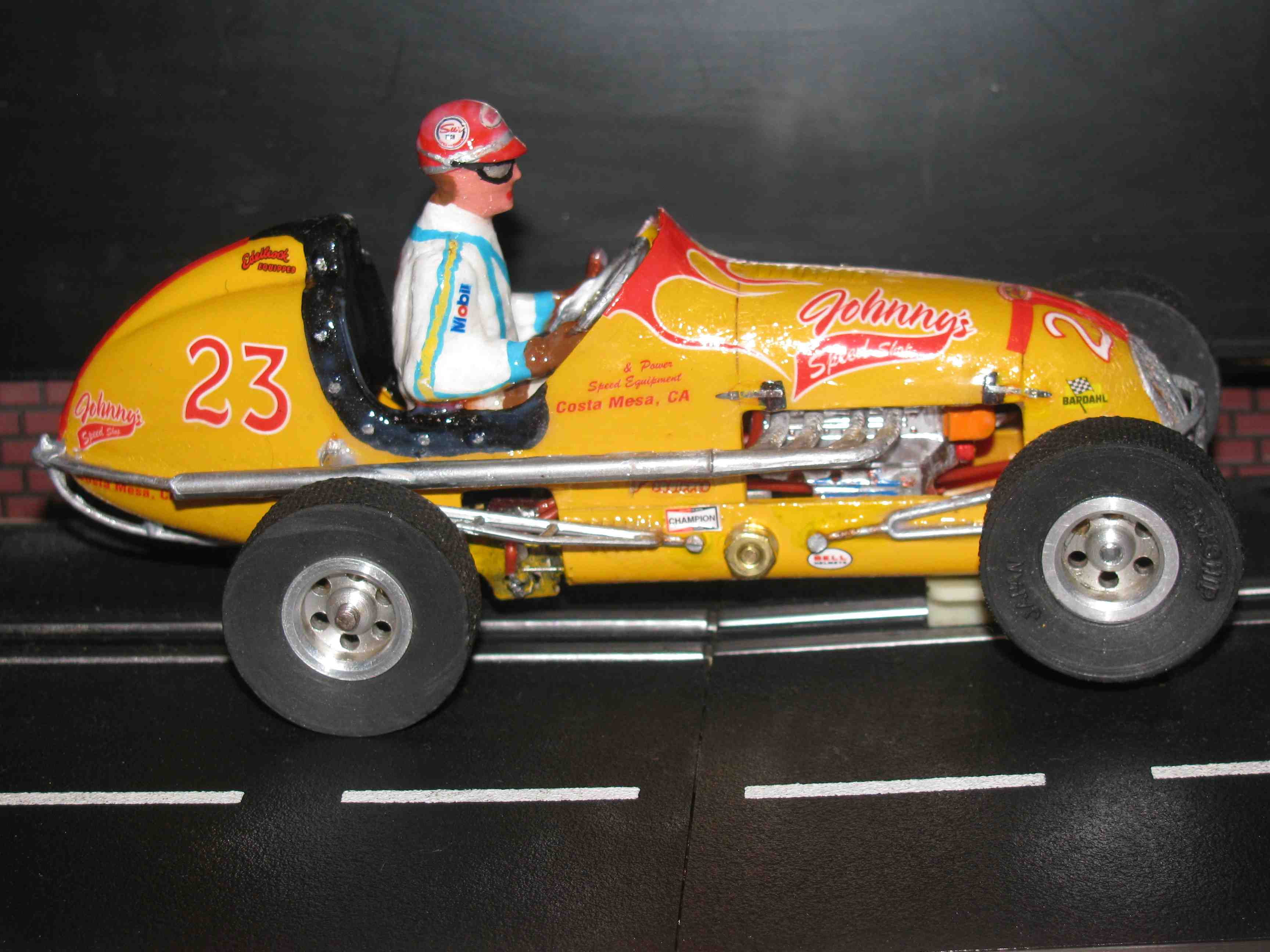 "* SOLD * Vintage Revell Midget Racer ""Johnnys Speed Shop"" Slot Car 1/24 Scale – Yellow – Car 23"