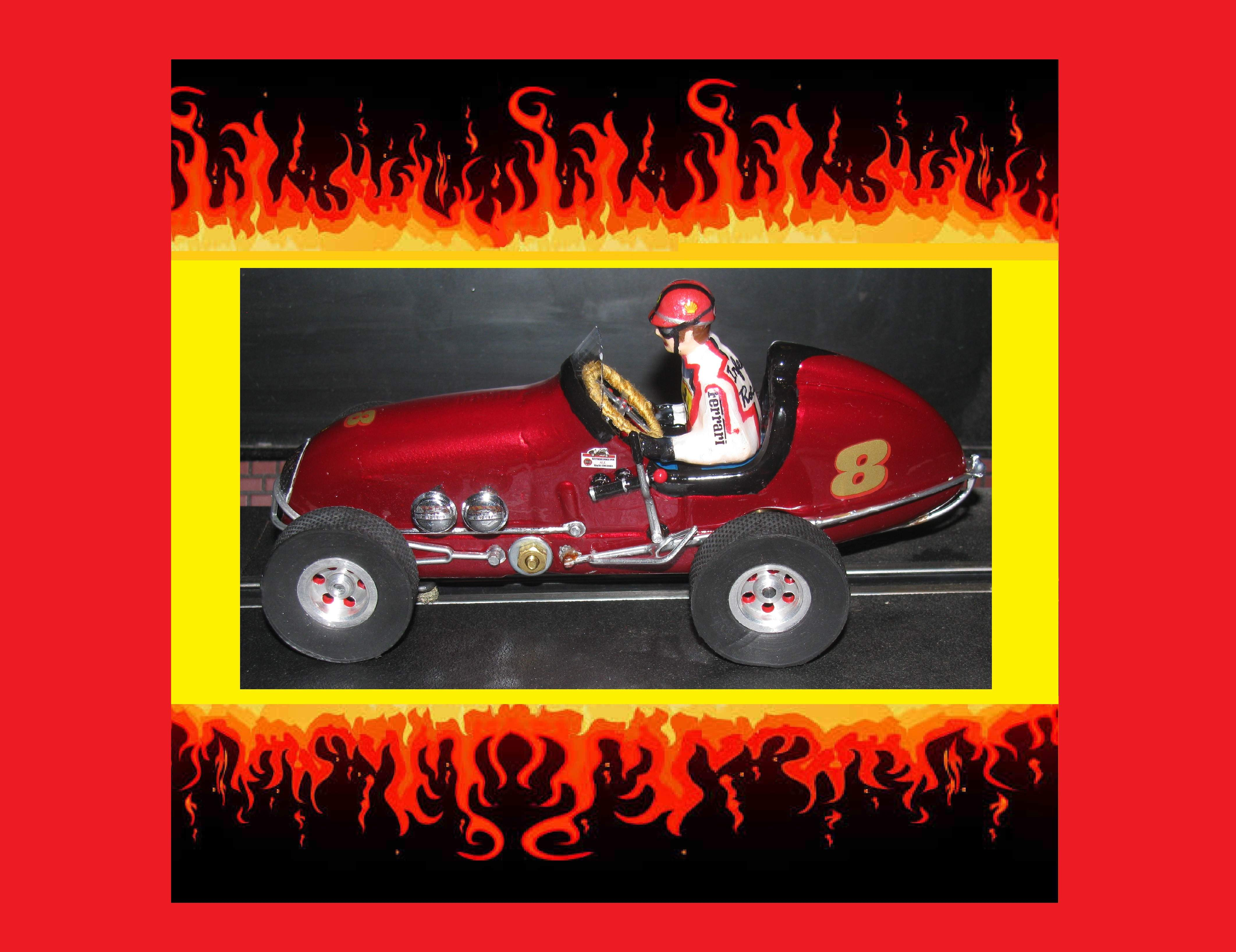 * SOLD * MSRP $499.99 * SPECIAL EASTER SUNDAY PRICE FOR CHARLES E. ONLY ($50 off website price, $200 off eBay price)* MEGA CUSTOM Monogram Midget Racer Inferno Red Kurtis Racing Special Slot Car 1:24 Scale Car #8