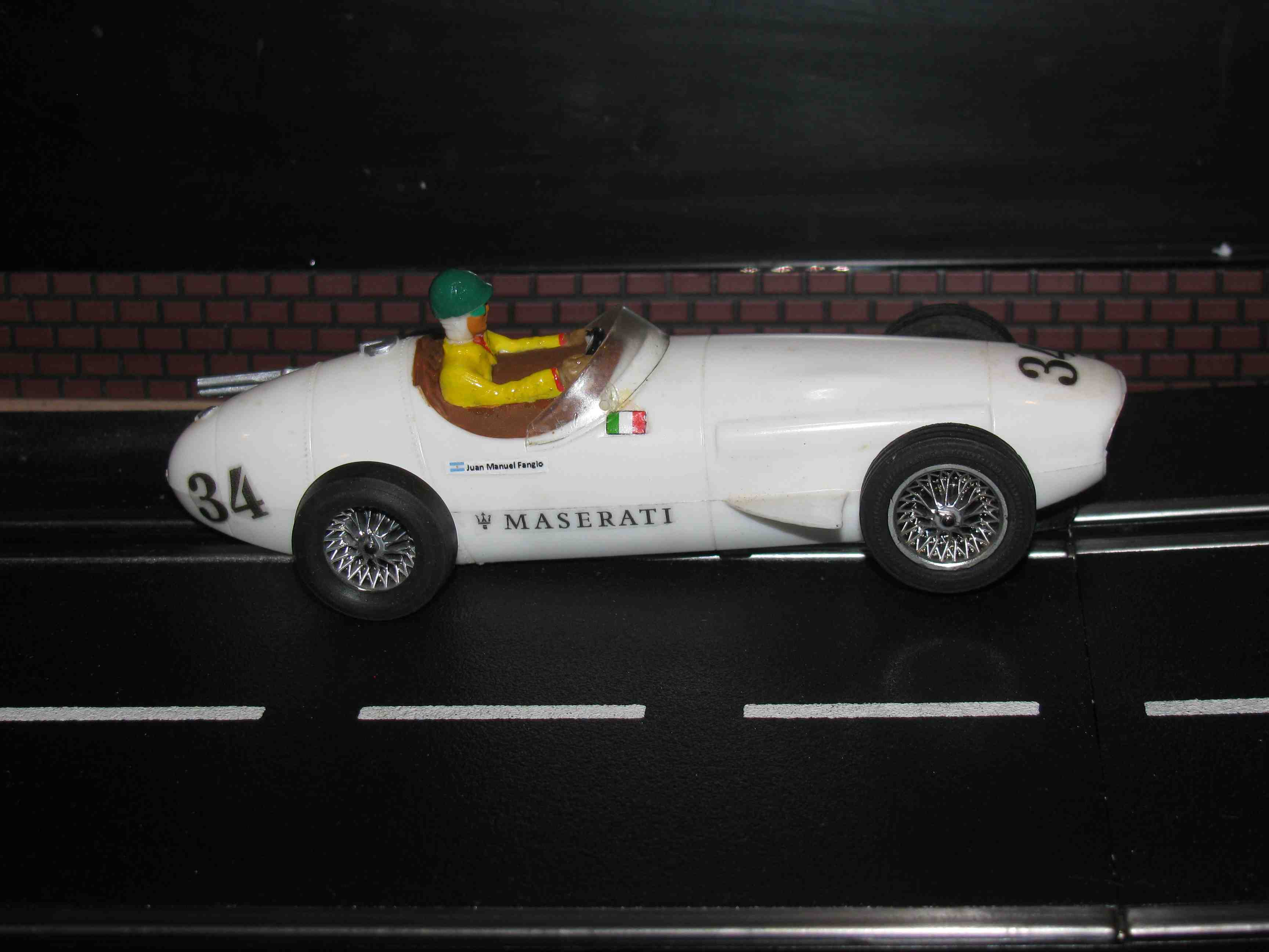 * SOLD * Vintage Maserati 250 Slot Car 1/32 Scale – White Car #34