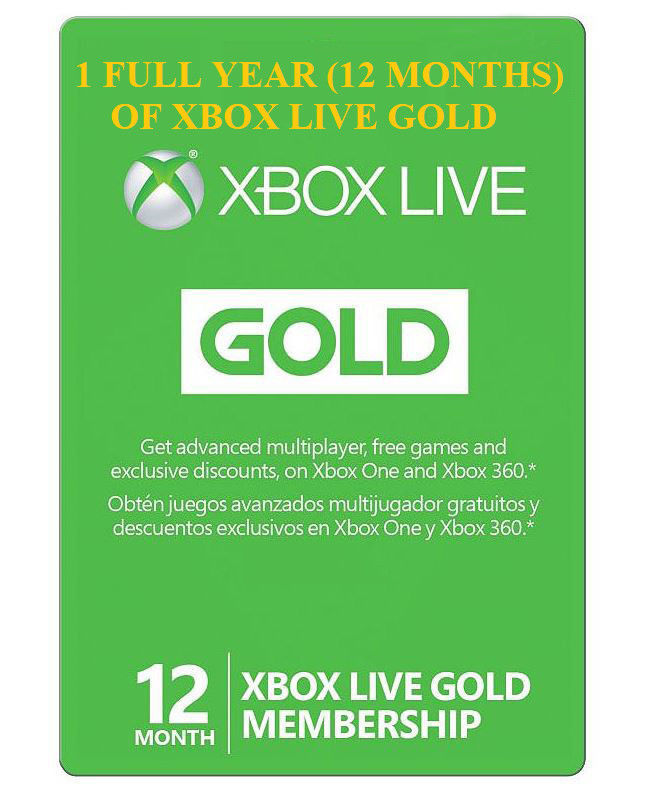 12 Month Xbox Live Gold Membership MSRP $59.99 on SALE for only $49.99