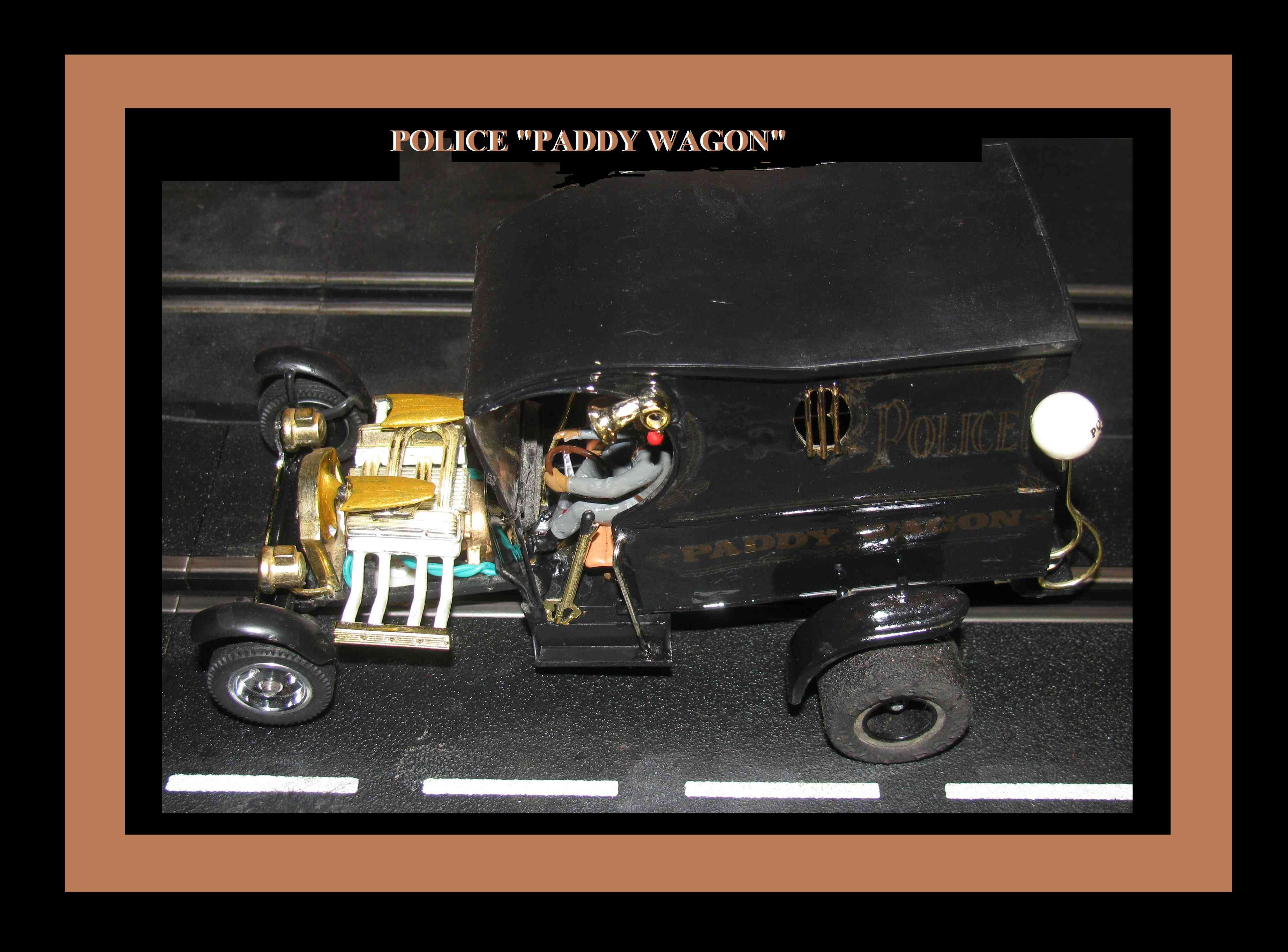 *SOLD* * SUMMER SALE * Monogram Paddy Wagon Police Slot Car 1/24 Scale with driver & Guards