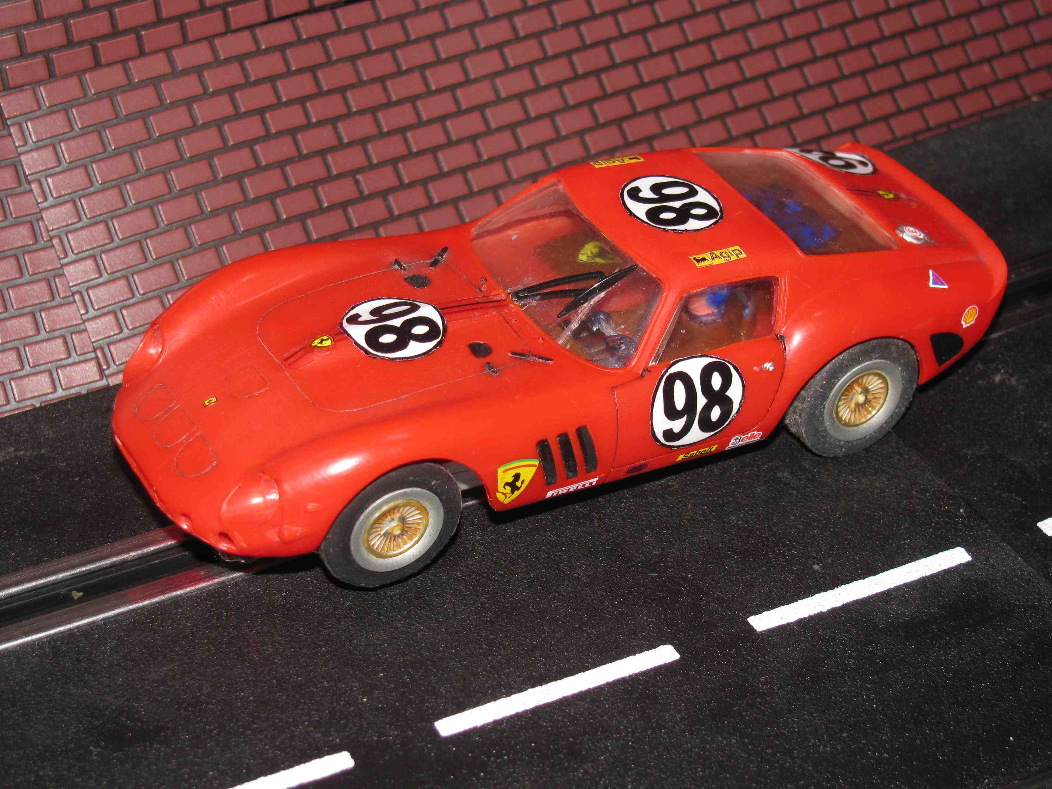* SOLD * Vintage Revell Ferrari 250 GTO Slot Car – Red - Car#98 - 1/32 Scale