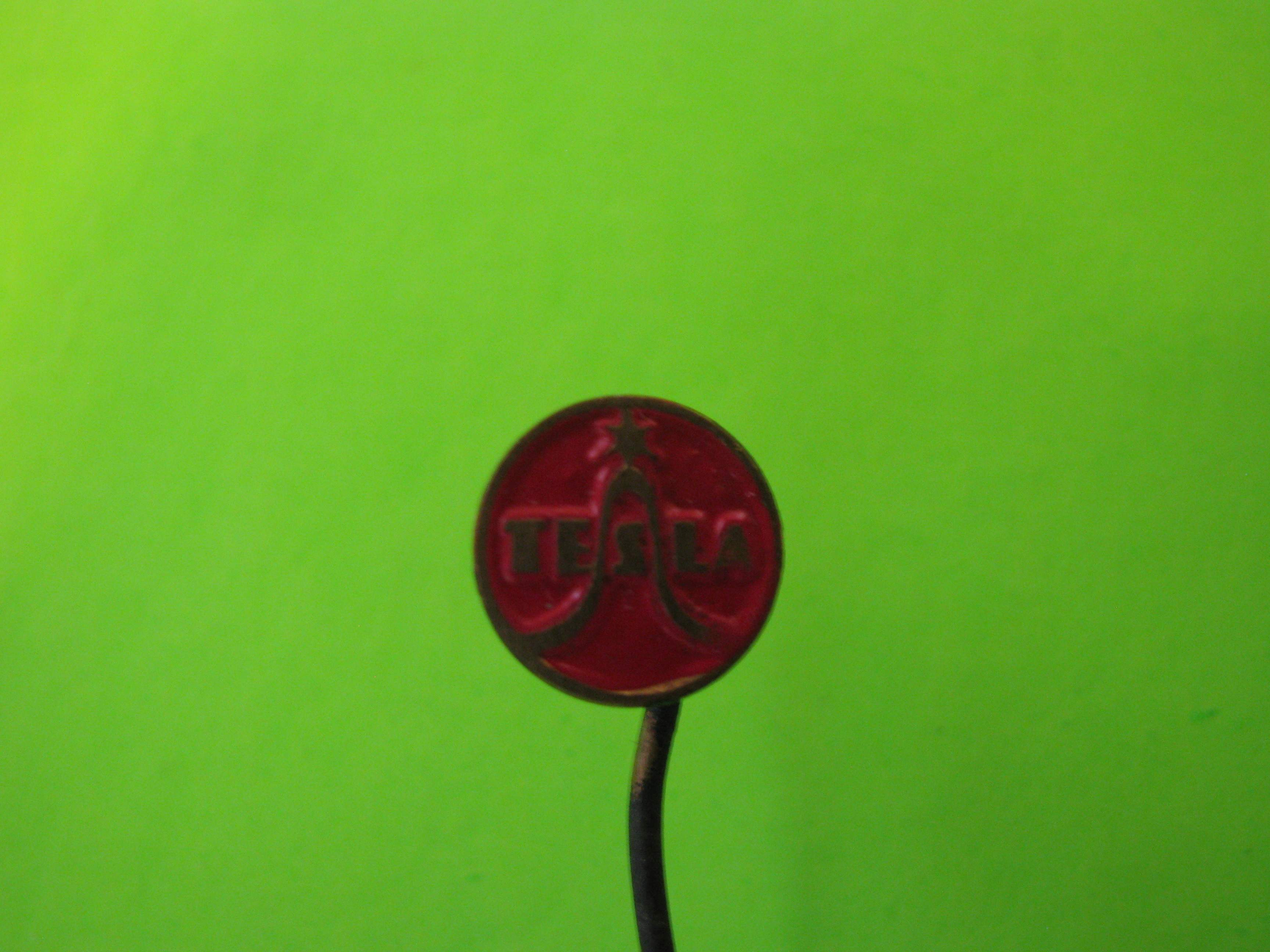 Vintage Tesla Stick Pin, Metal with Red Colored Background