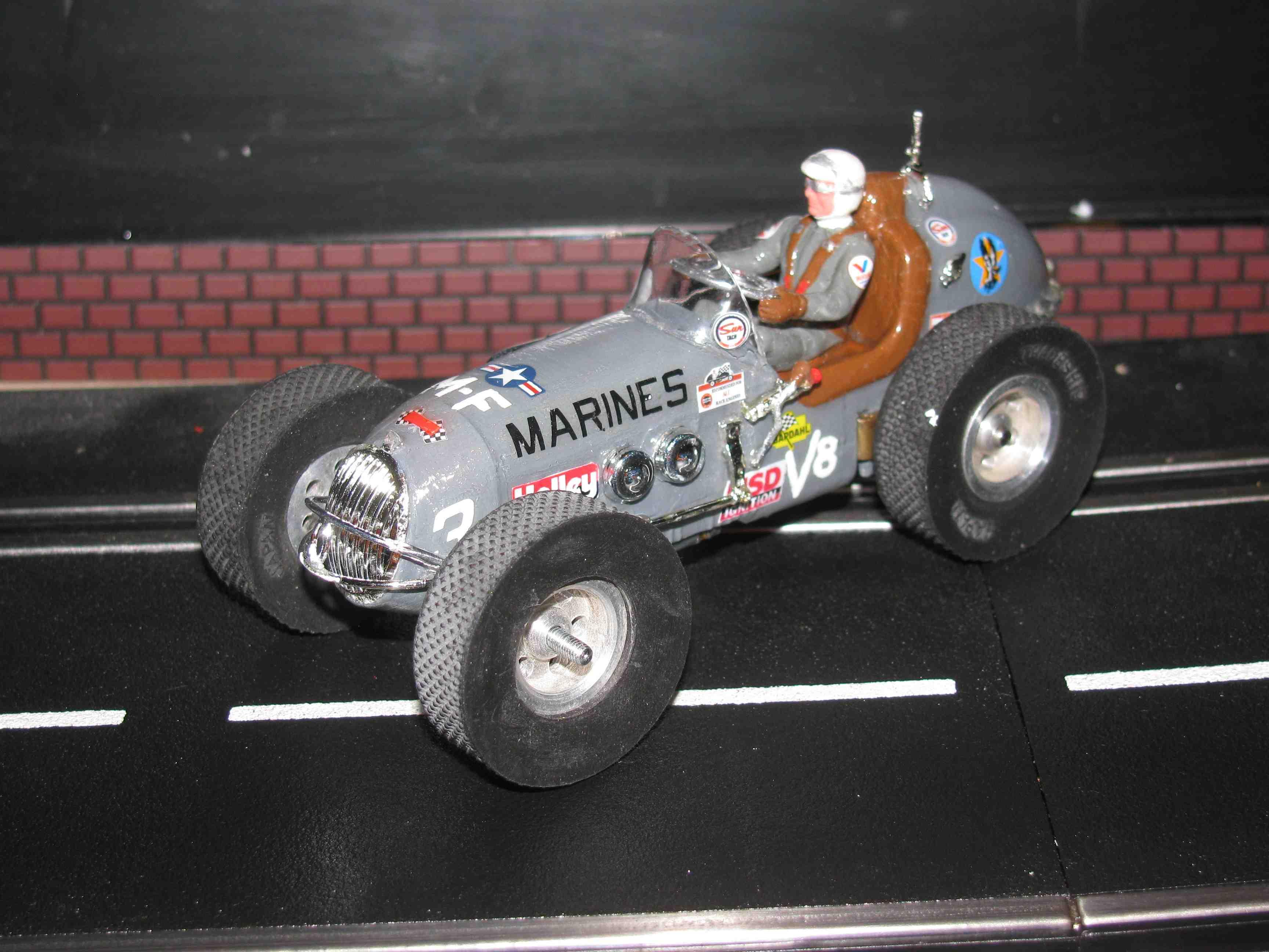 "SOLD * Vintage Revell Midget Racer ""Marine"" Race Team Slot Car 1/"