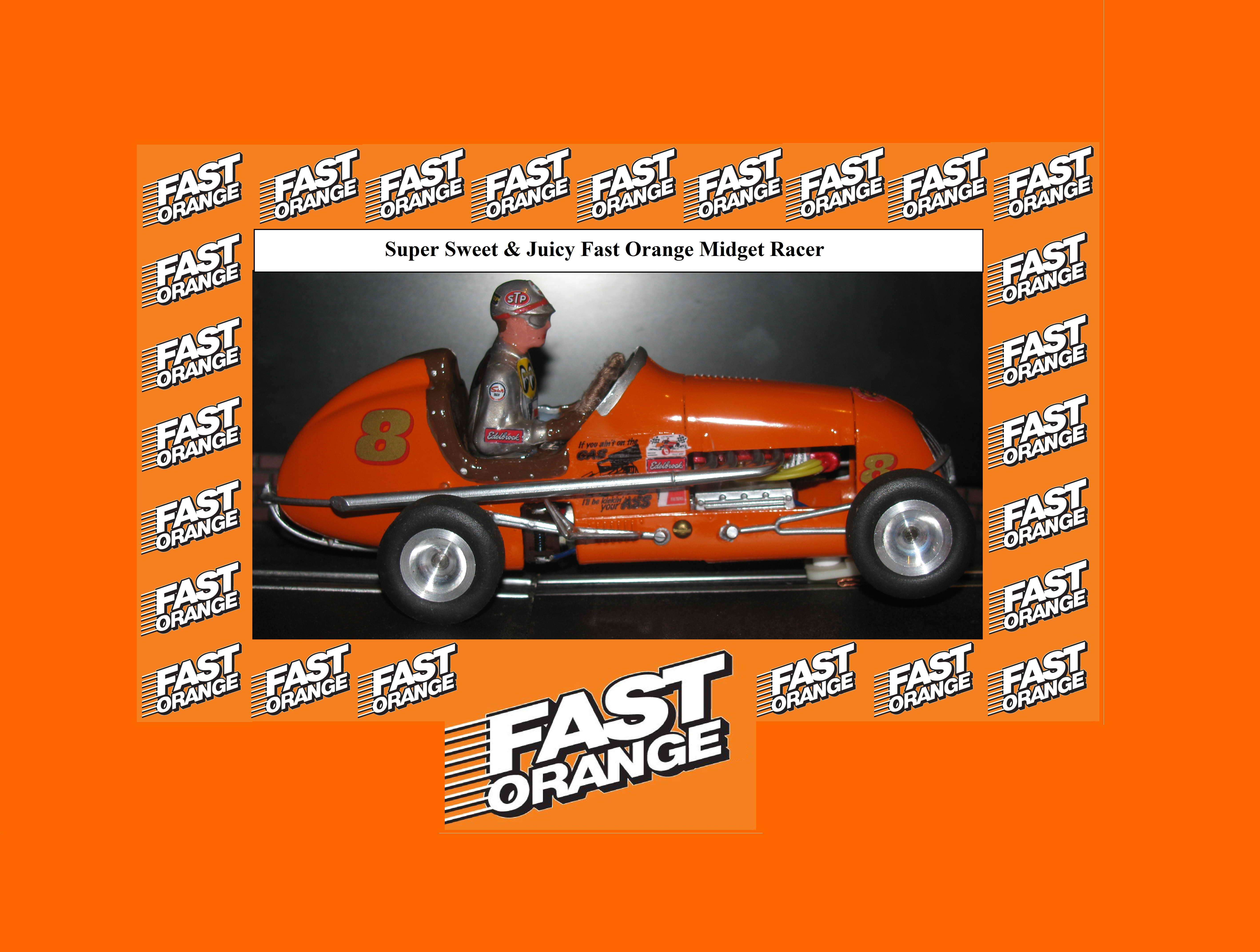 "* SOLD * Vintage Monogram Midget Racer Slot Car ""FAST ORANGE"" Permatex since 1909 - Car 8 (Super Sweet & Juicy Fast Orange Midget Racer)"