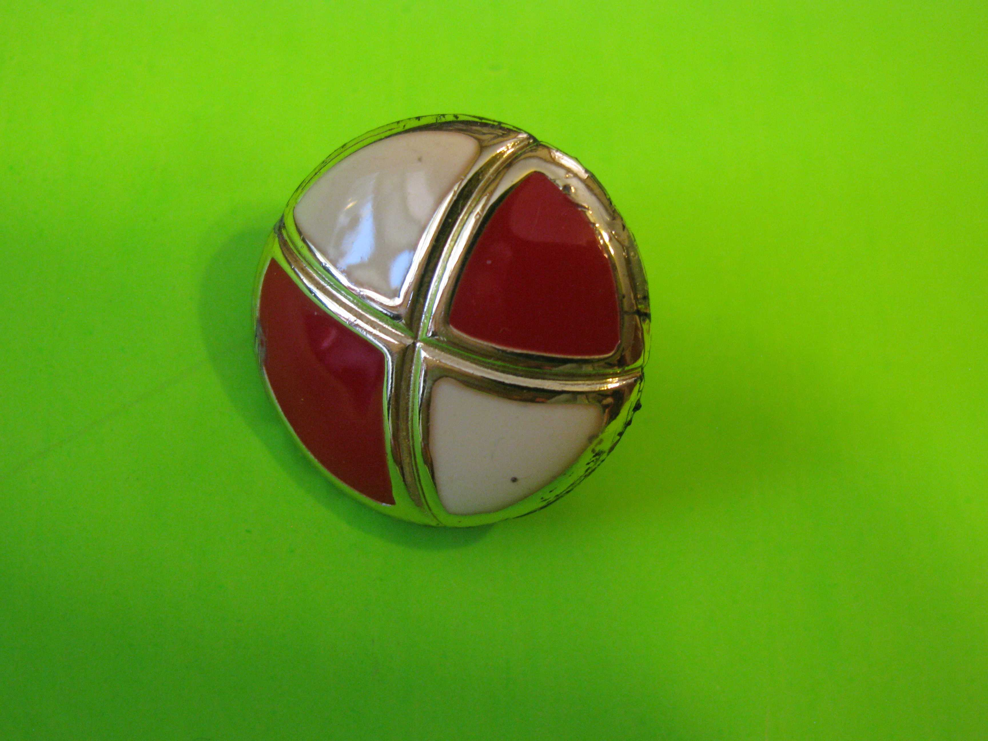 Art Deco Red and White Ball Shaped Metal Button with Metal Loop Shank