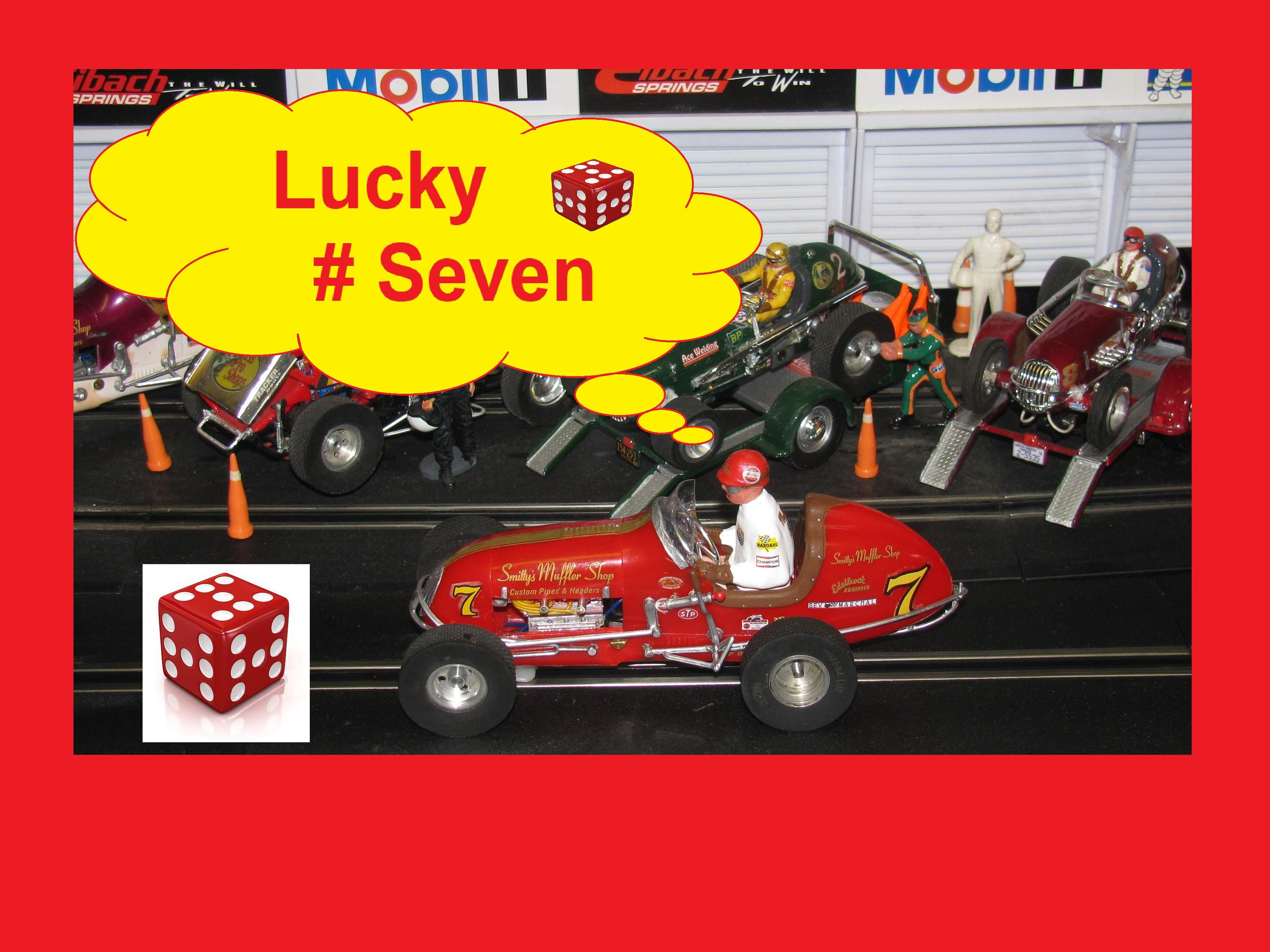 "* SOLD * Vintage Monogram Midget Racer Slot Car ""Lucky # Seven"" Smitty's Muffler Shop Car 7"