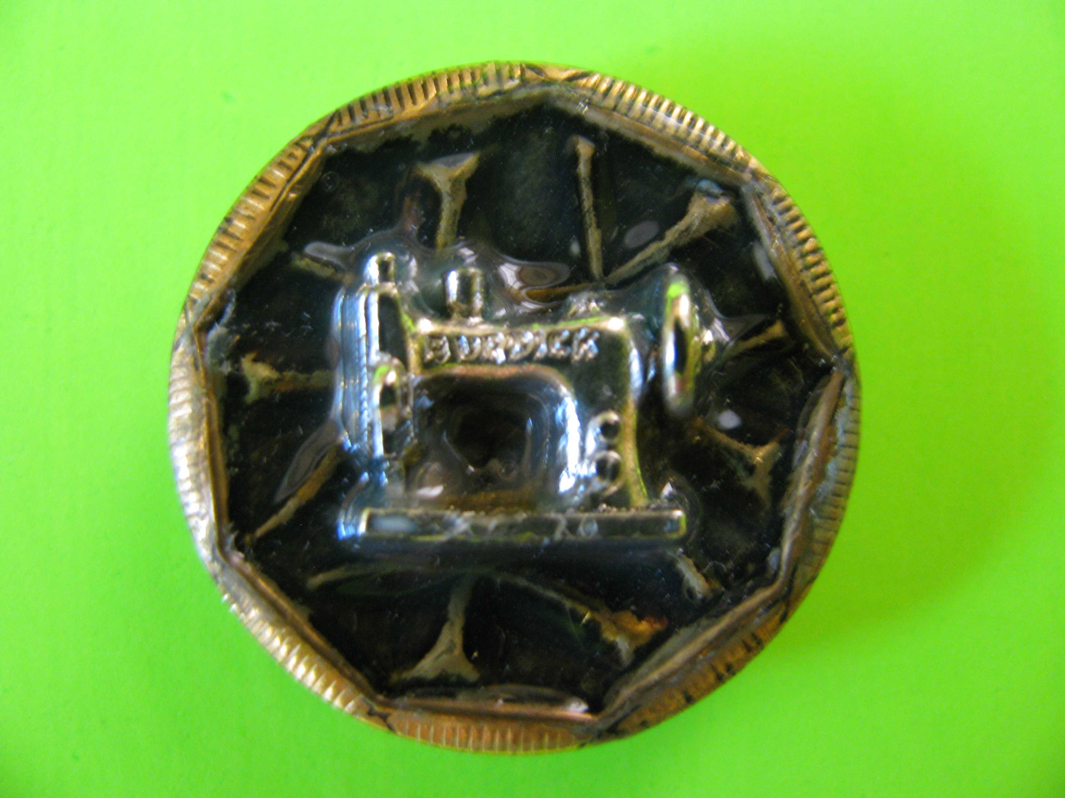 Vintage Sewing Machine Button in Gold Like Metal with Pewter Insert of Sewing Machine & Loop Shank