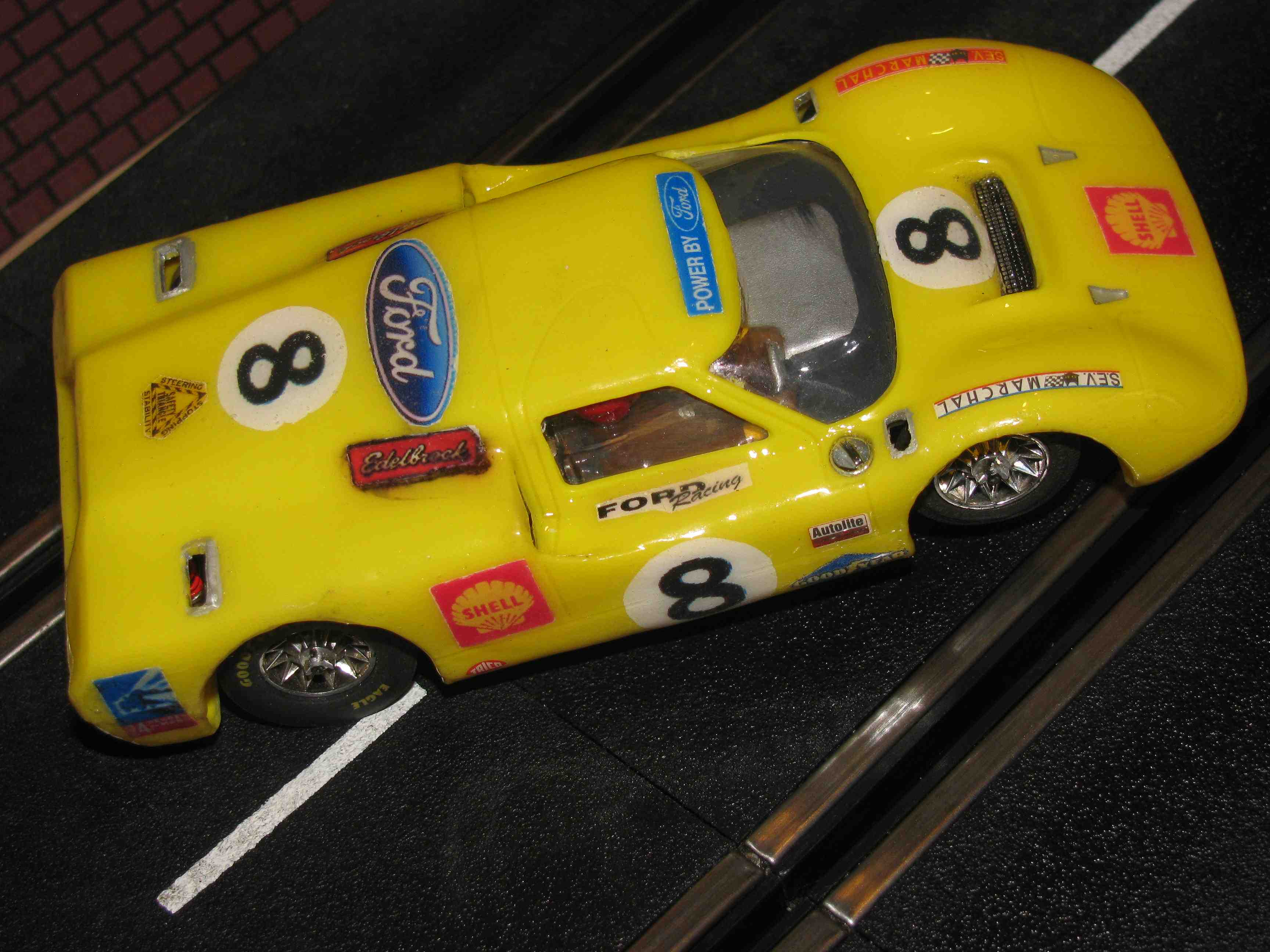 *** SOLD *** FORD J-GT Slot Car, Vintage Yellow, 1/32 Scale