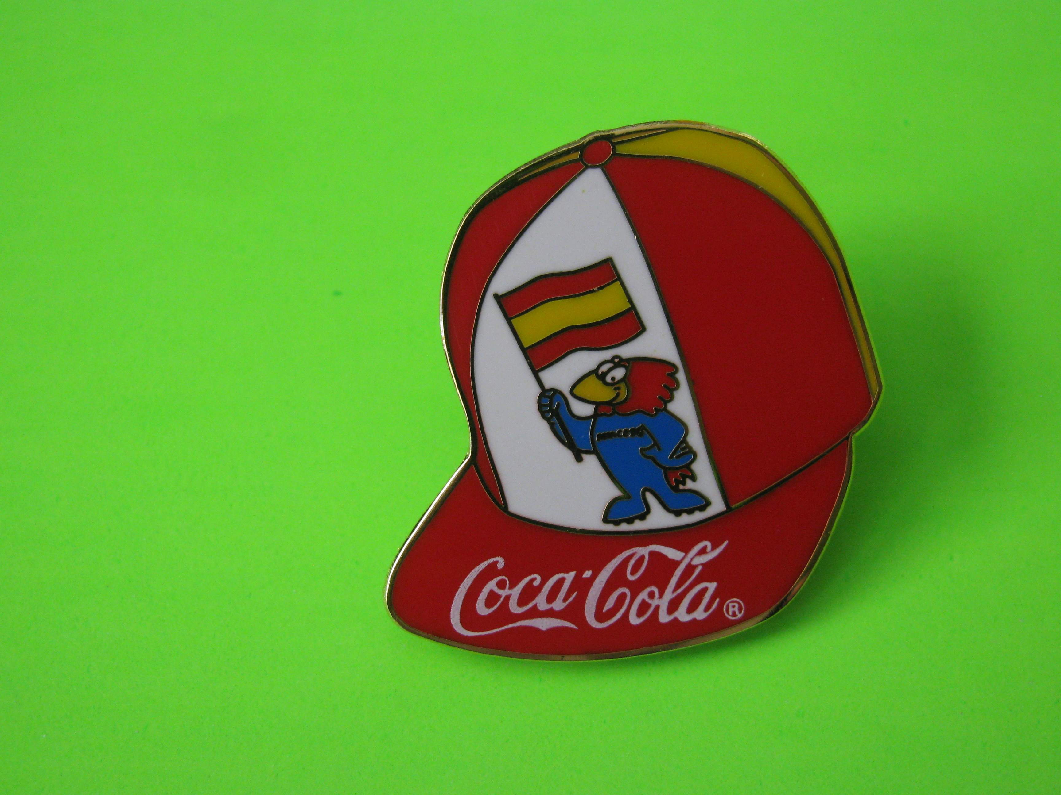 1995 Coca-Cola Promo Soccer Pin, Spain, Ball Cap Shaped, Metal with Butterfly Clutch