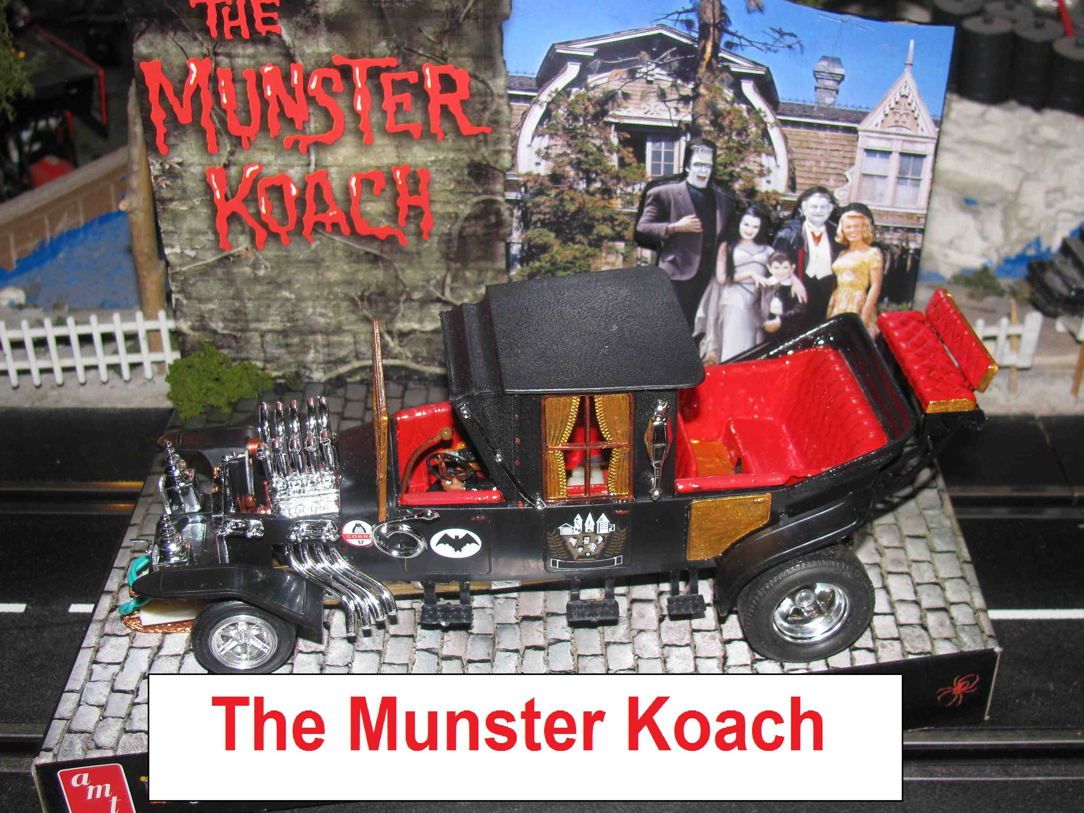 *SOLD* Vintage AMT The Munster Koach Slot Car in 1/24 Scale with Custom Maple Wood Display Stand