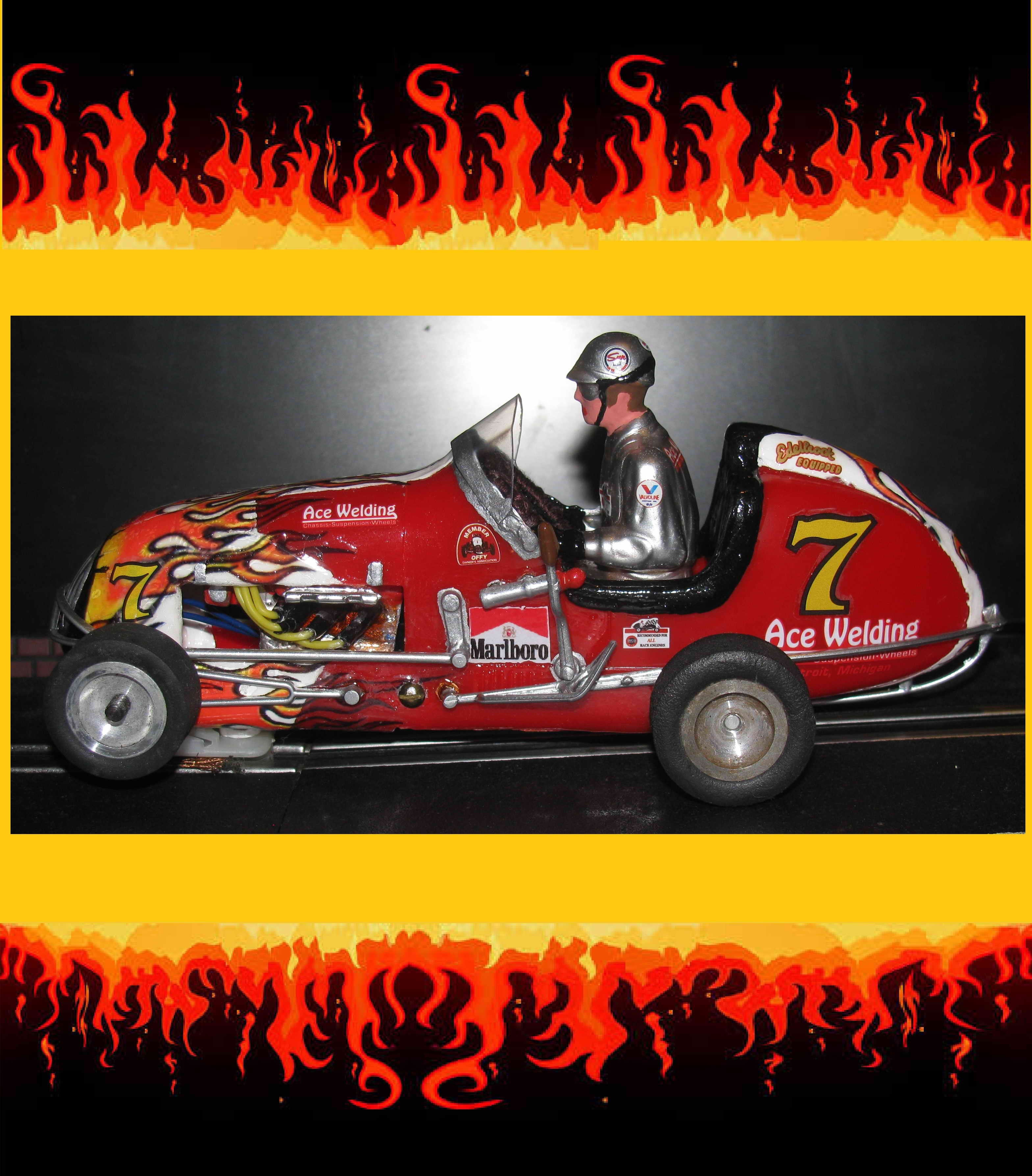 "For Jay - Vintage Monogram Midget Racer ""Flamin Hot Lucky 7"" Slot Car – Car #7"