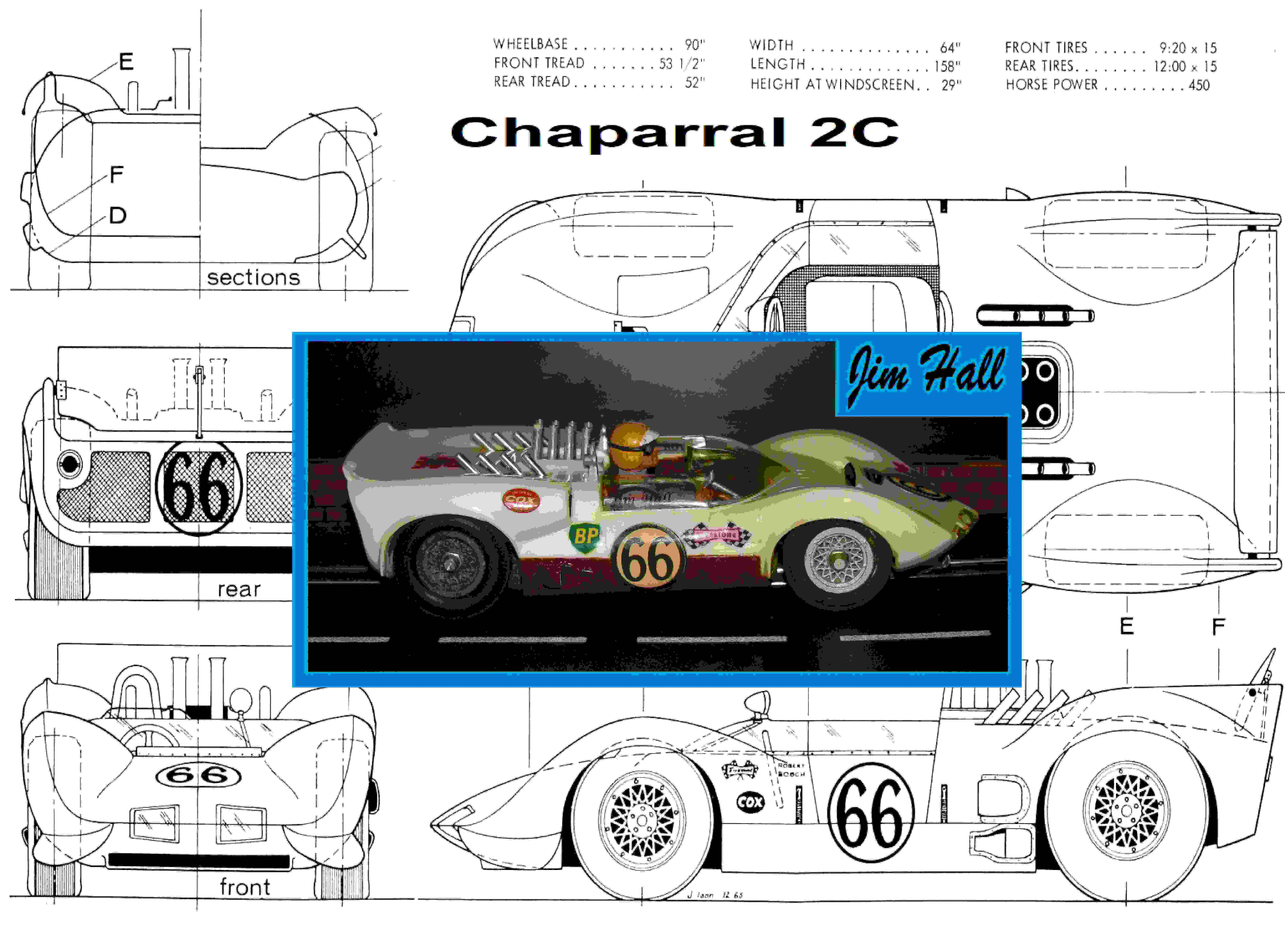 "*SOLD* Vintage Cox Chaparral 2C Slot Car Racer ""Jim Hall's 2C"" 1/24 Scale – Car 66"