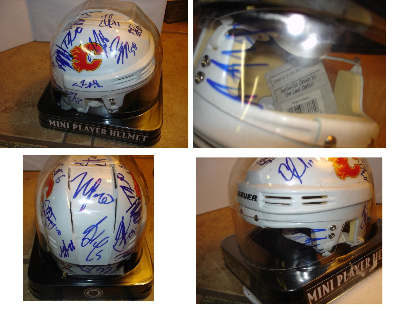 Calgary Flames Mini player helmet w/boxed & ALL PLAYERS AUTOGRAPHS - GREAT GIFT