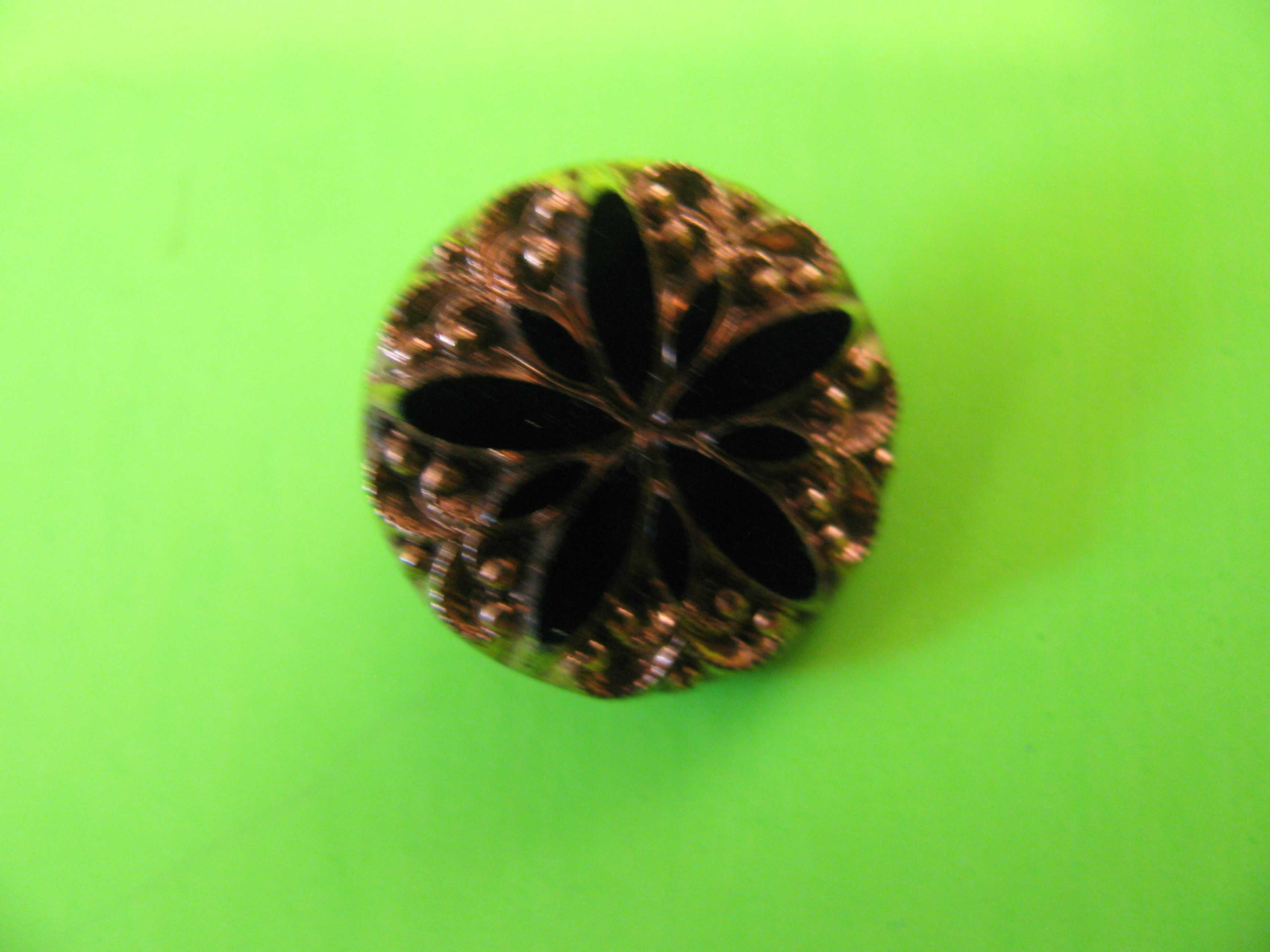 Antique Black Glass in Star Shaped Patterns with Gold Inlay Button with Metal Loop Shank