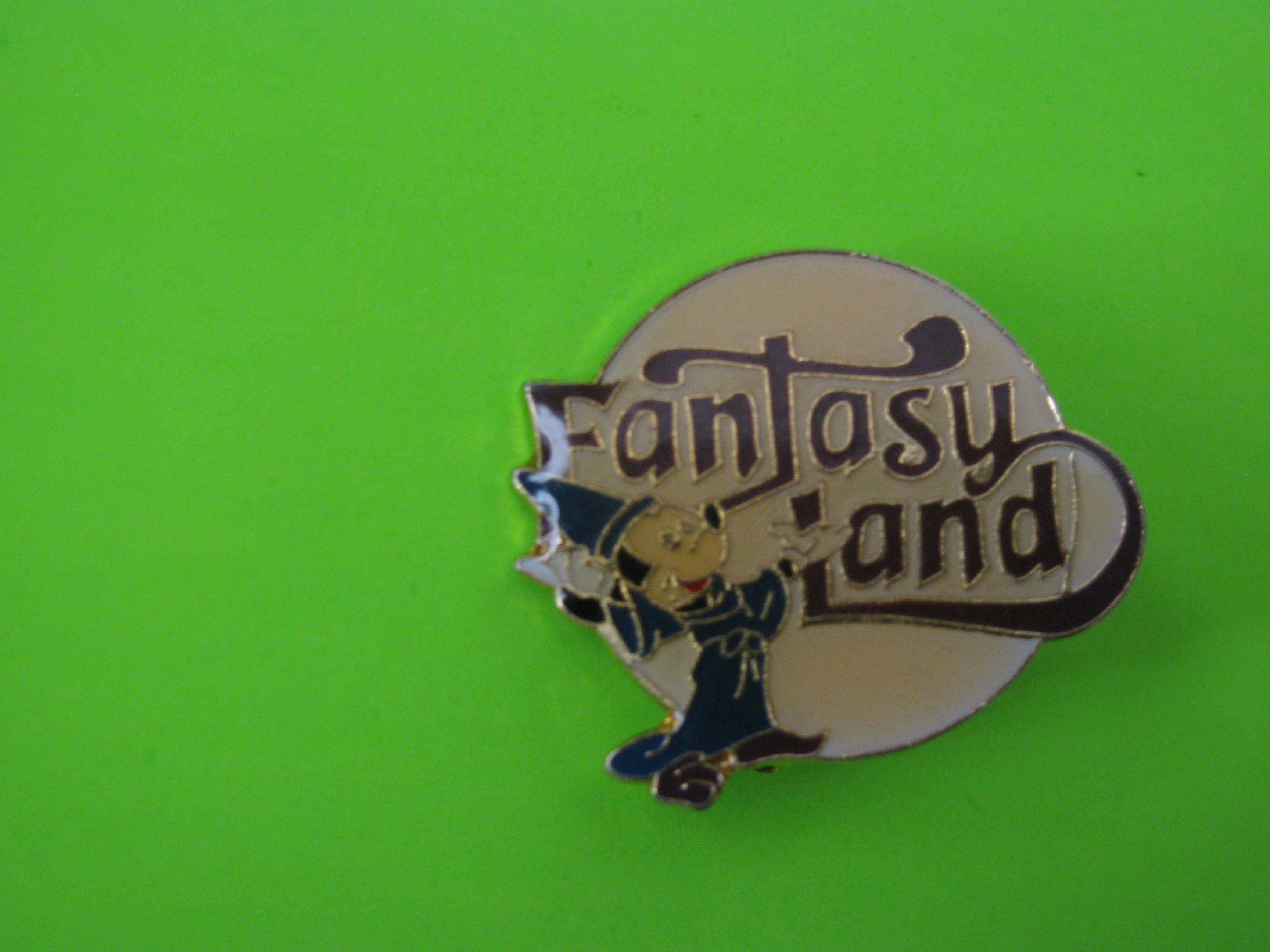 Vintage Fantasy Land Promo Pin with Mickey Mouse, Metal with Clutch