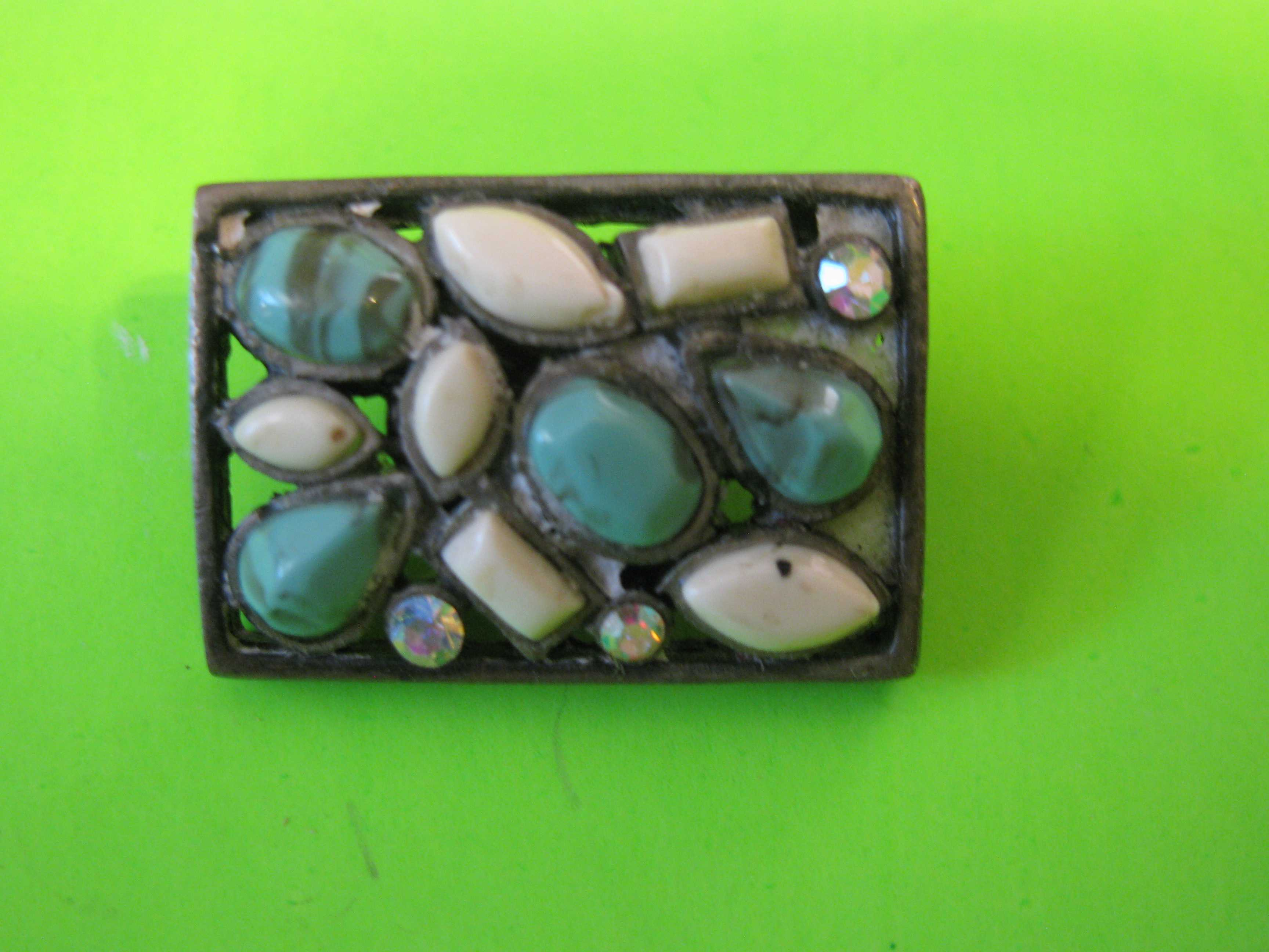 Antique Rectangle Pewter Button with Rhinestones and Torques – Metal Loop Shank