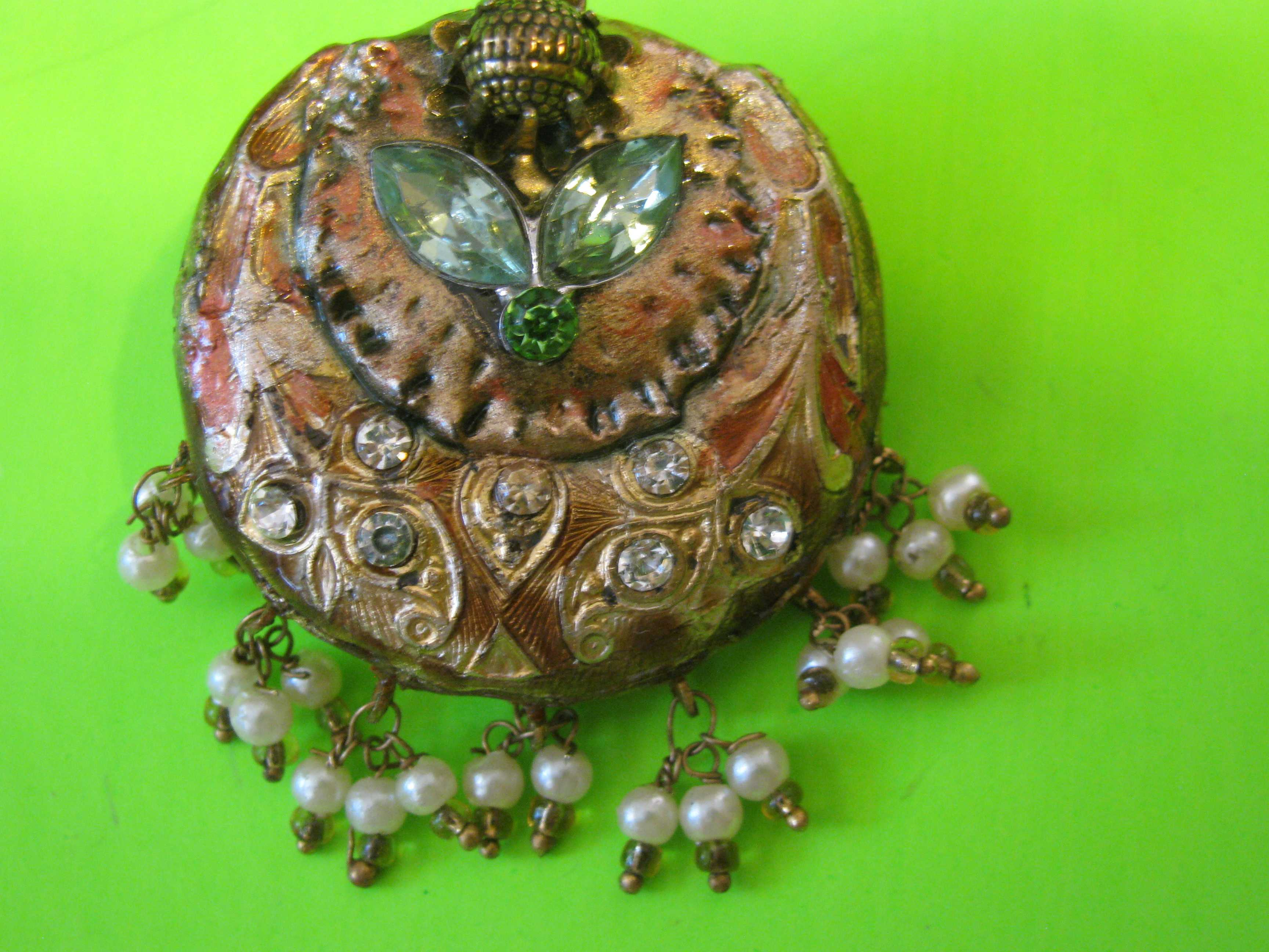 Vintage Old Waterbury Company Button with Tear Shaped Green Rhinestones & Lop Shank