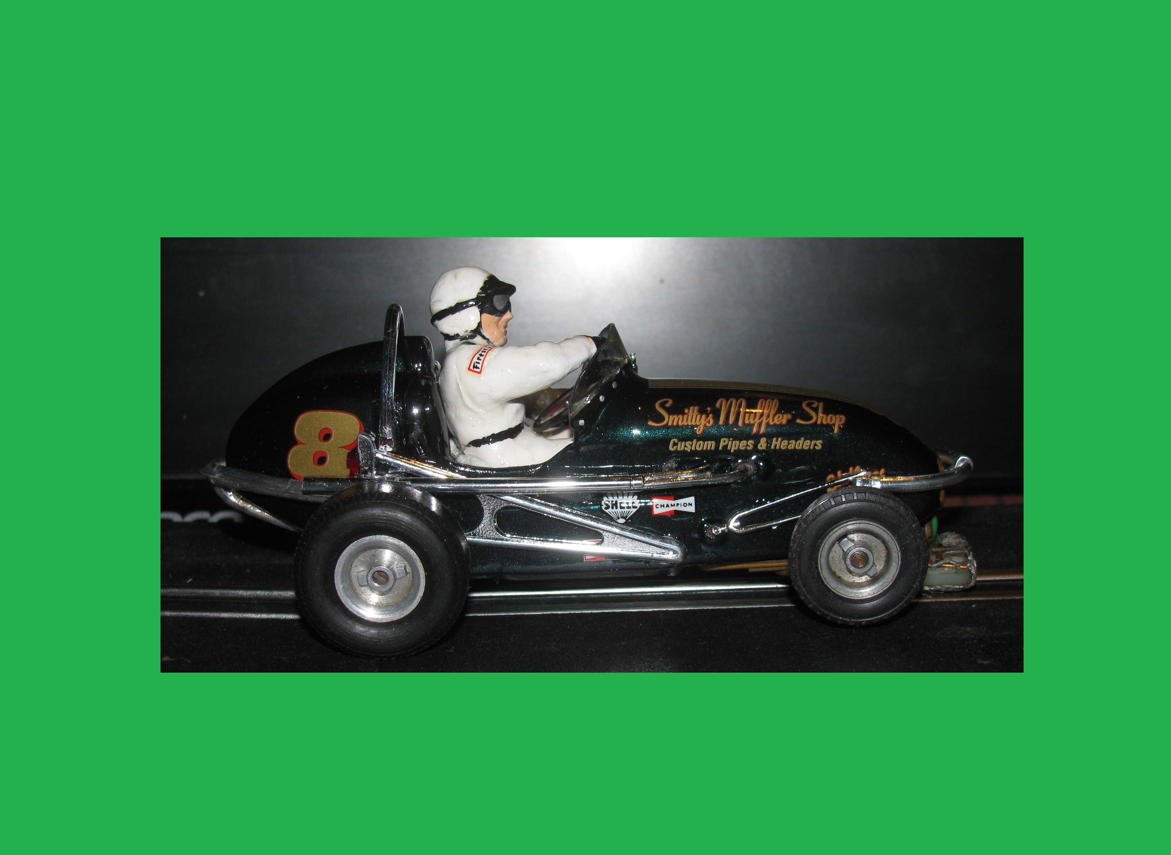 * SALE Price *SOLD** Vintage and original Monogram Midget Racer in actual 1:24 Scale, Brilliant Racing Green Special Slot Car 8