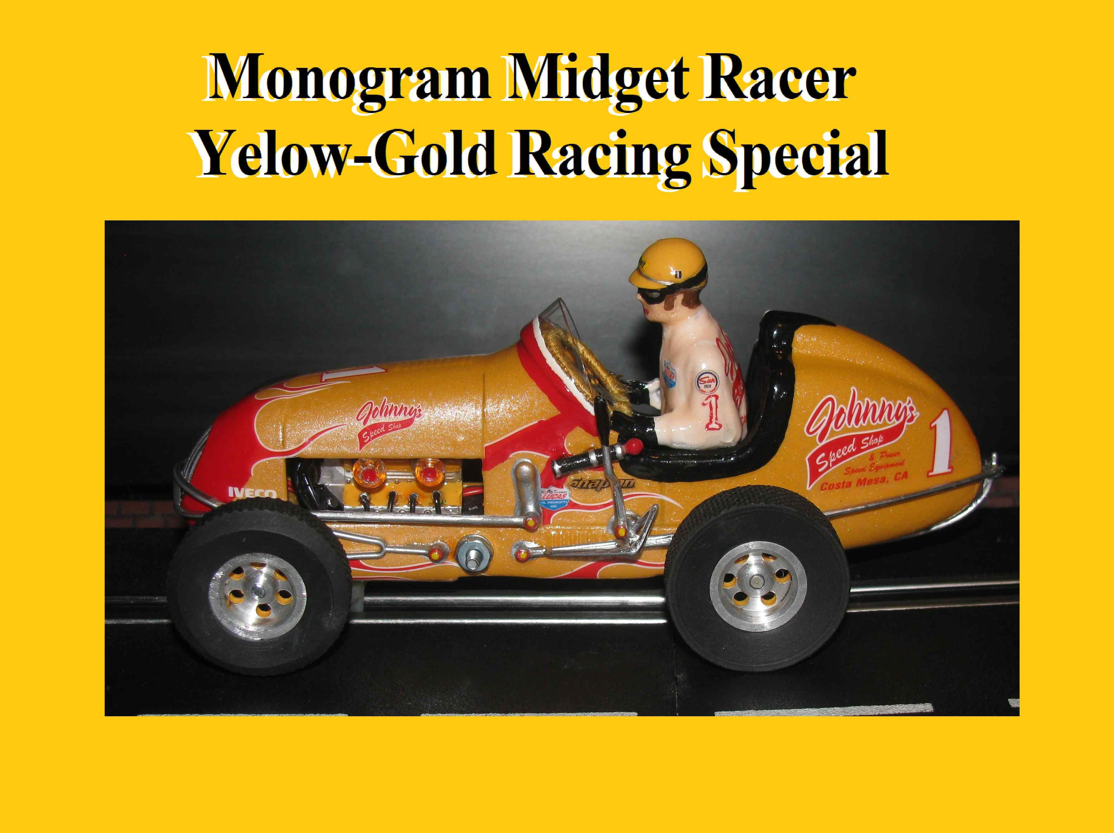 * SOLD * * SALE * * FOR CHARLES E. ONLY * Monogram Midget Racer Yelow-Gold Racing Special Slot Car 1/24 Scale (Revell Style Yellow-Gold Pearl Custom)