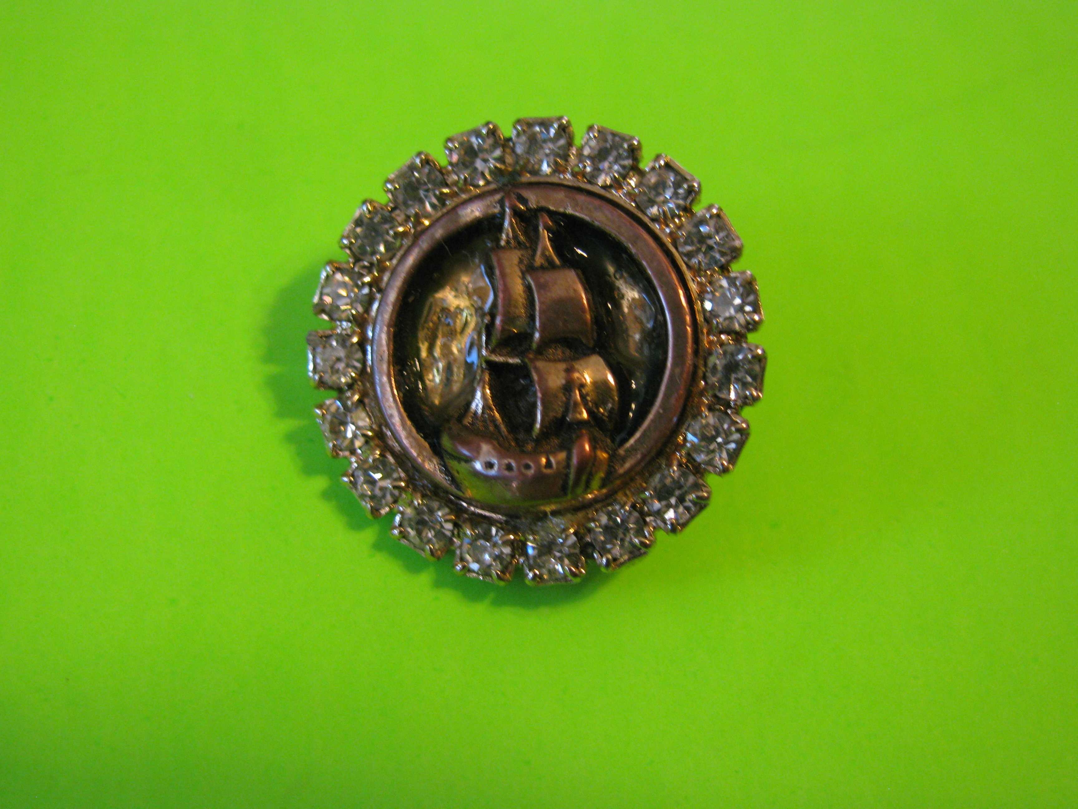 Galleon Style Sailing Ship on Metal & Brass Circle Button with Surrounding Stones