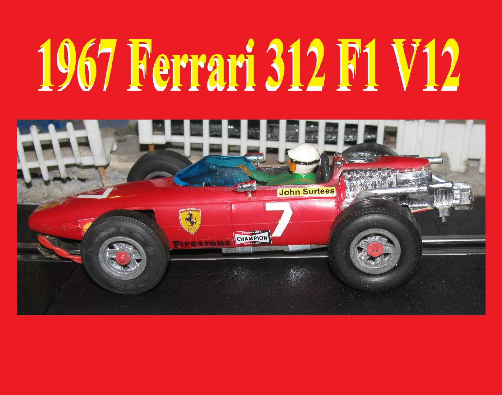 * SOLD * * Happy New Year Sale * COX 1967 Ferrari F1 V12 Slot Car Scuderia Ferrari 312 – 1:32/1:24 Scale