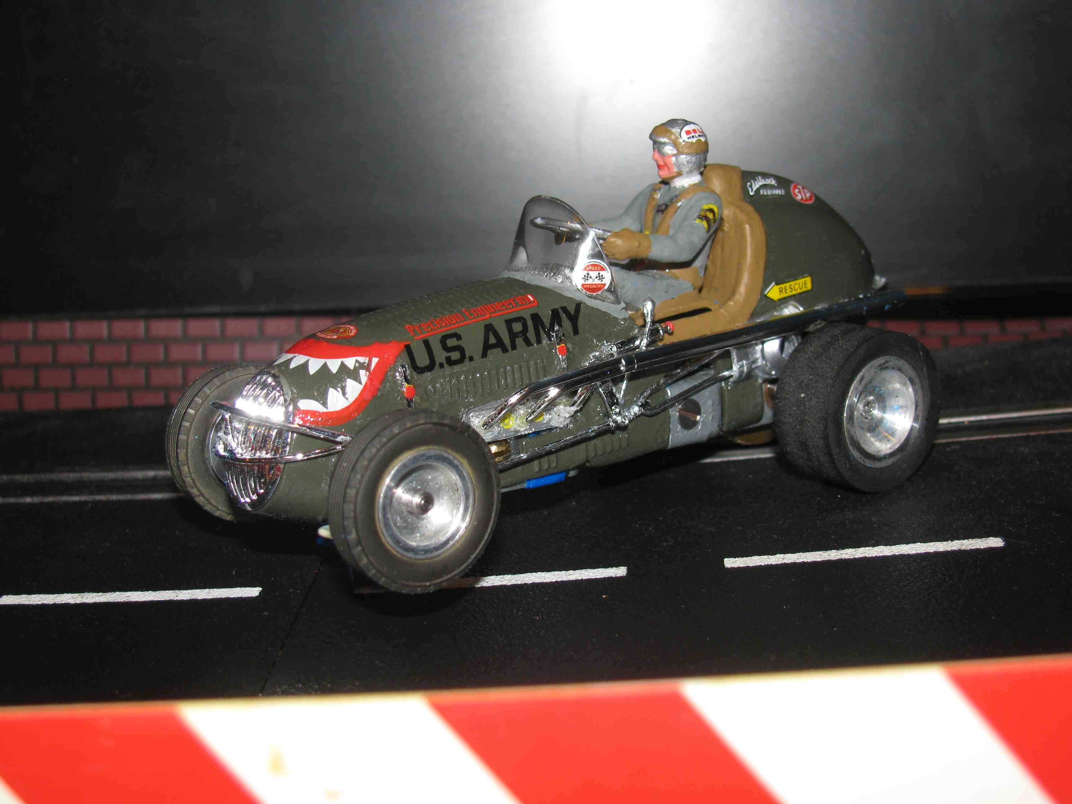 "* SOLD * Vintage Revell Midget Racer ""ARMY Precision Engineering"" Race Team Slot Car 1/32 Scale – Olive Drab – Car #1 (Limited Edition Set of Four - 1 of 4)"