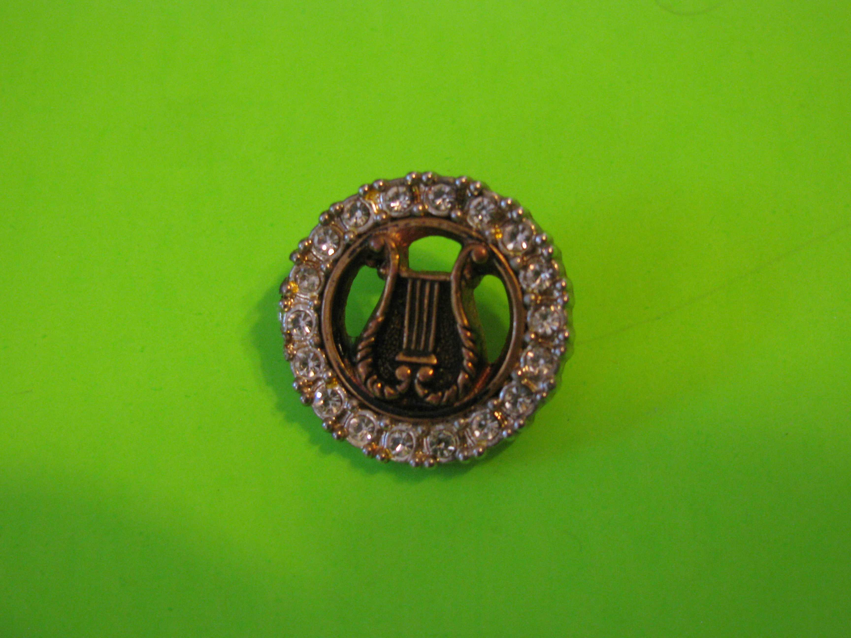 Vintage Brass Harp Encircled with Rhinestones & Metal Loop Shank