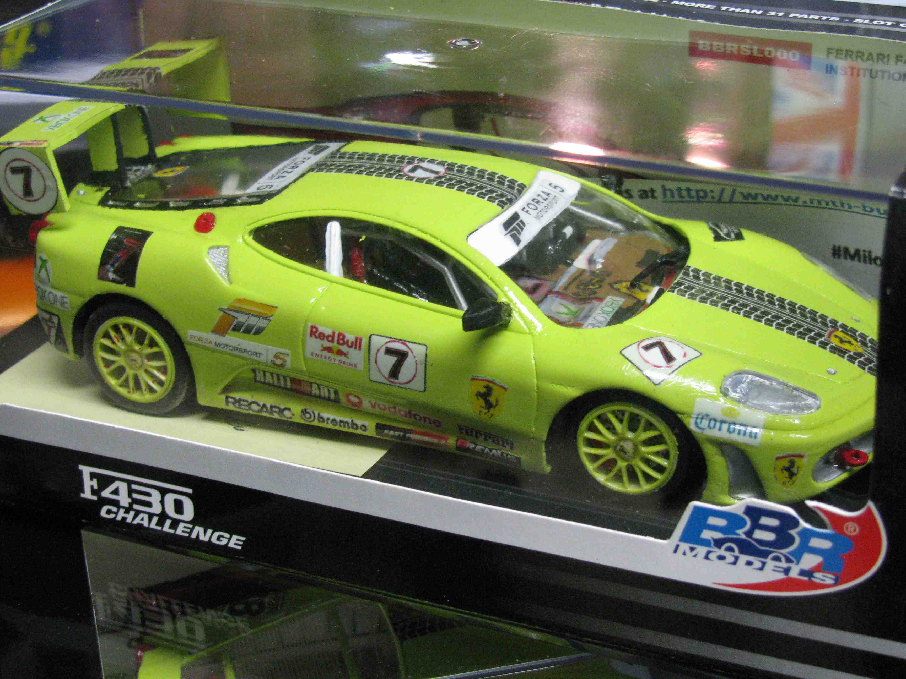***SOLD*** Ferrari F430 Challenge Slot Car in Key Lime Green, Custom Decal Design with Custom Rear Spoiler – Car 7