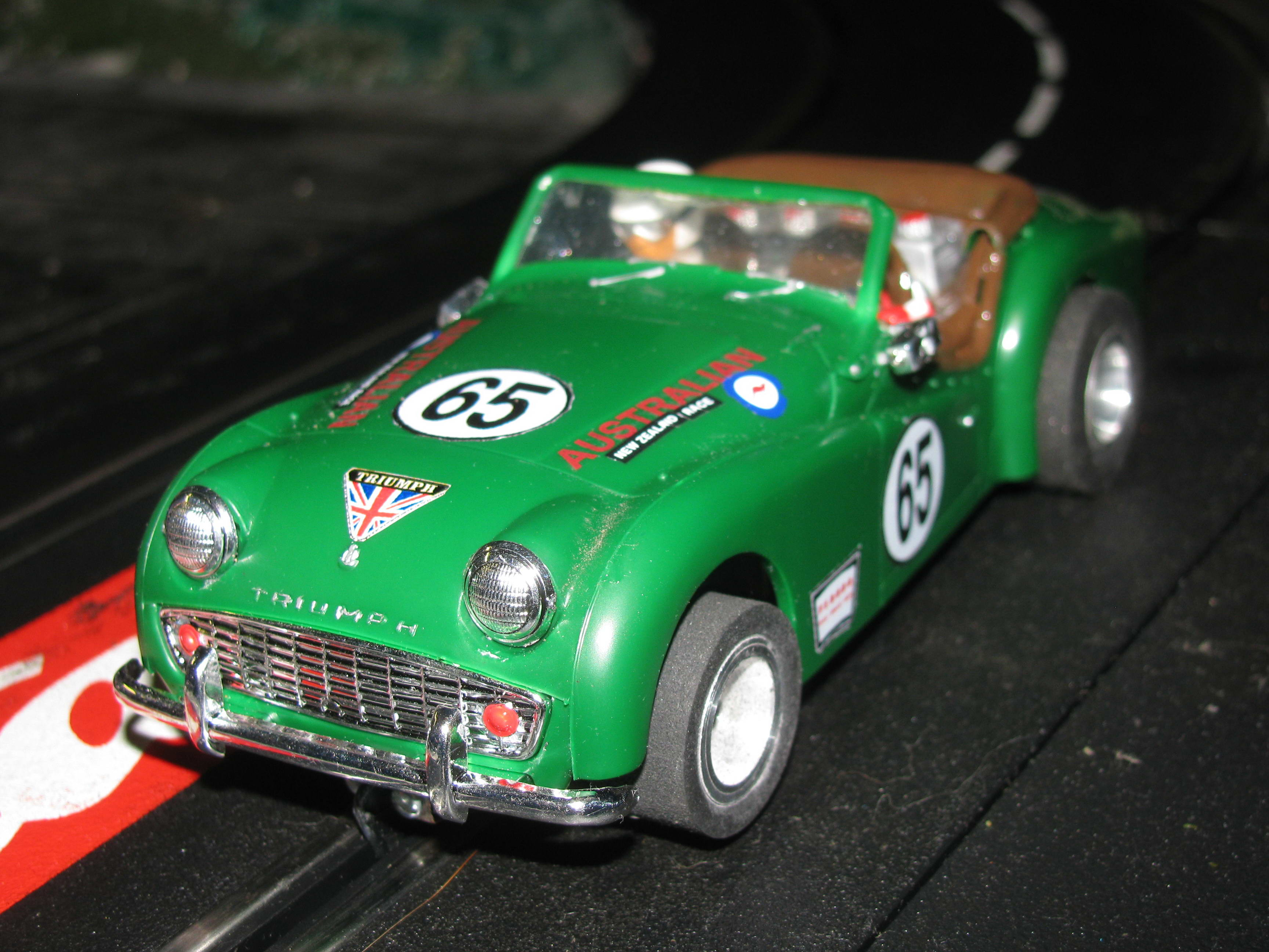 * SOLD * Vintage 1/24 Scale 1959 Triumph TR3A Australian New Zealand Racer in British Racing Green – Car 65