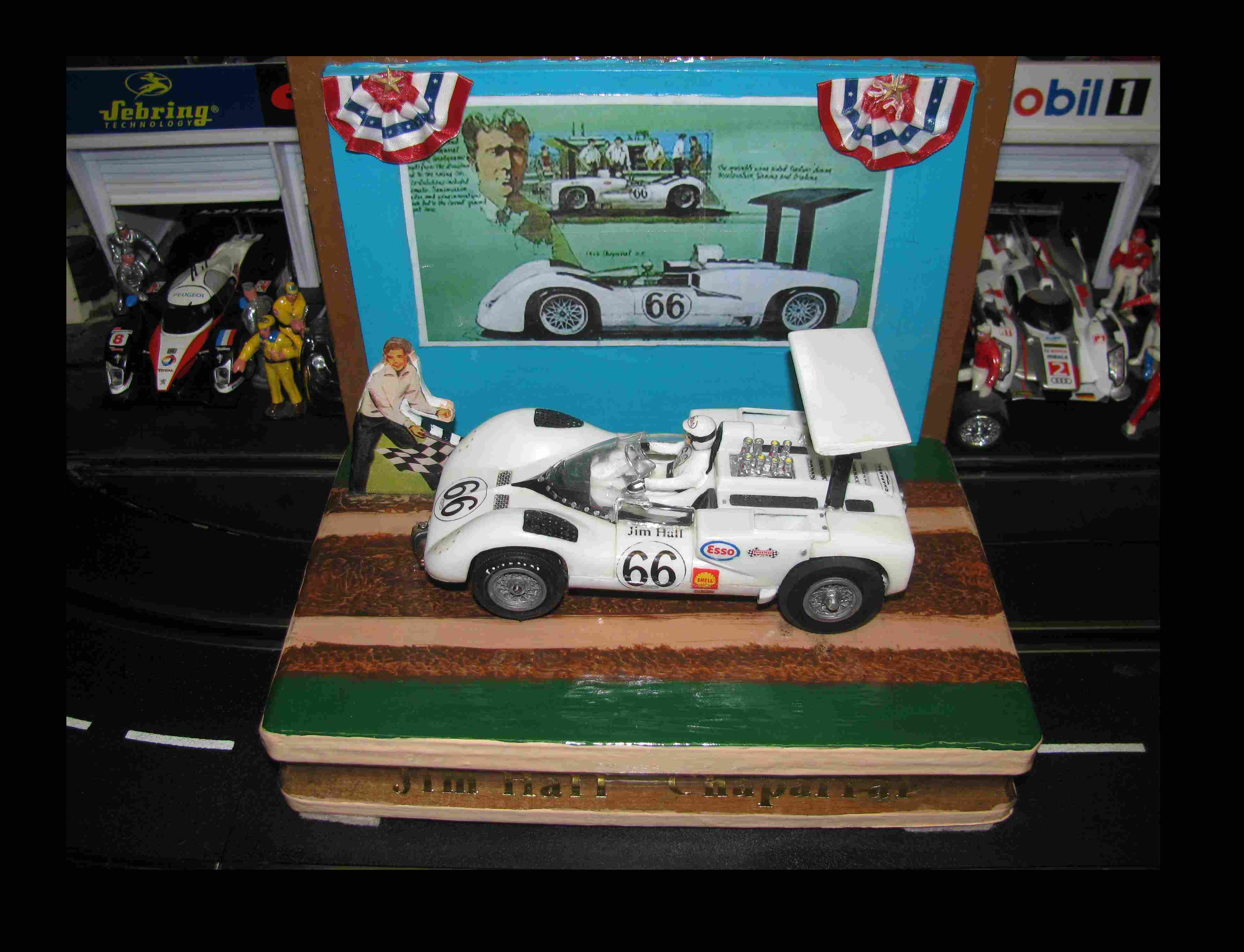 """* Super Sale for """"shishapangma1993"""", TEXT me at 734-657-6456 for fast reply Shipped via UPS Fully Insured * Vintage COX Chaparral 2E Jim Hall #66 1:24 Scale Slot Car with Real Wood Display Stand"""