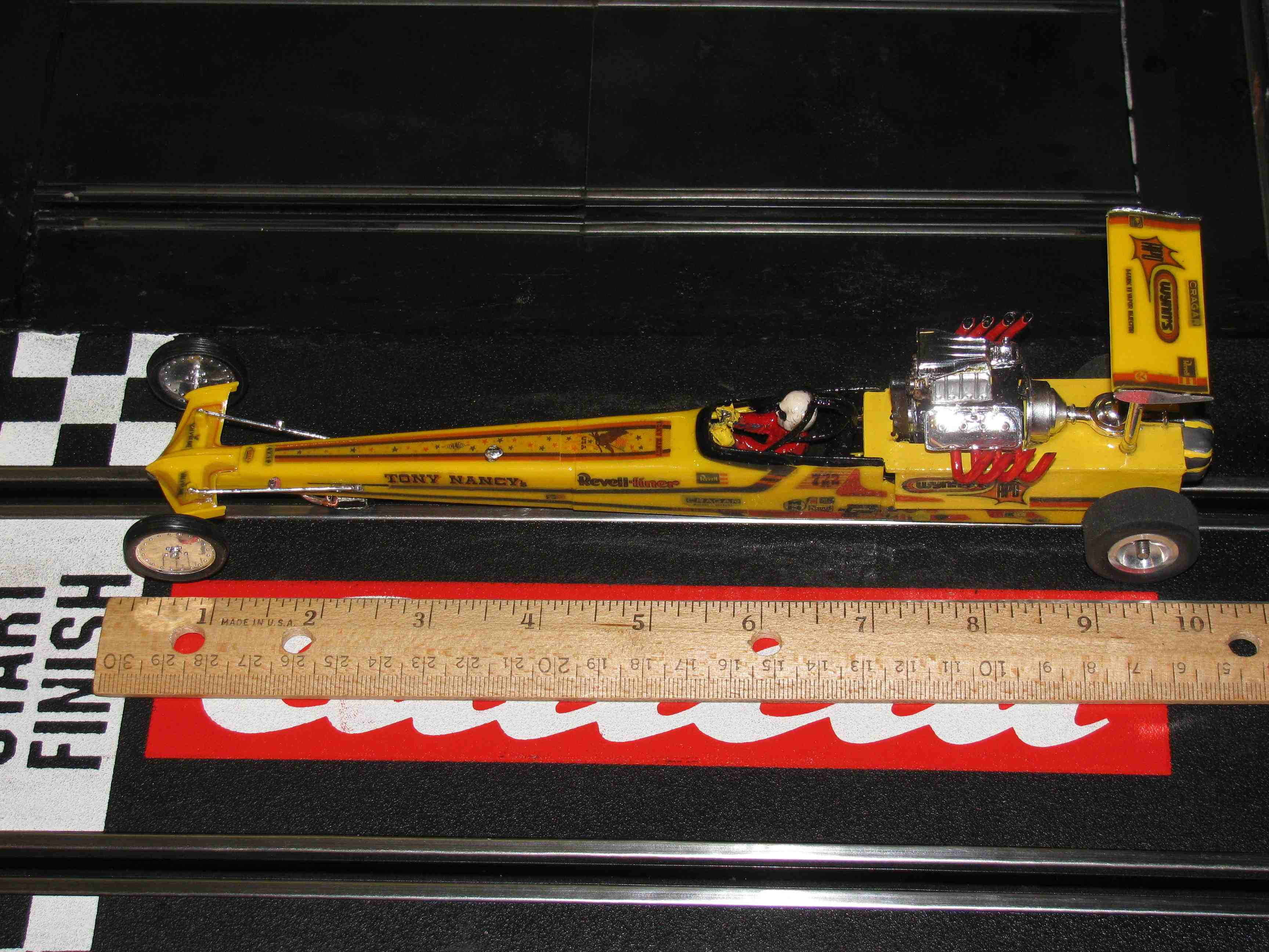 *** SOLD *** Revell-Liner Tony Nanacy 22JR Yellow Dragster – 1/24 Scale Slot Car