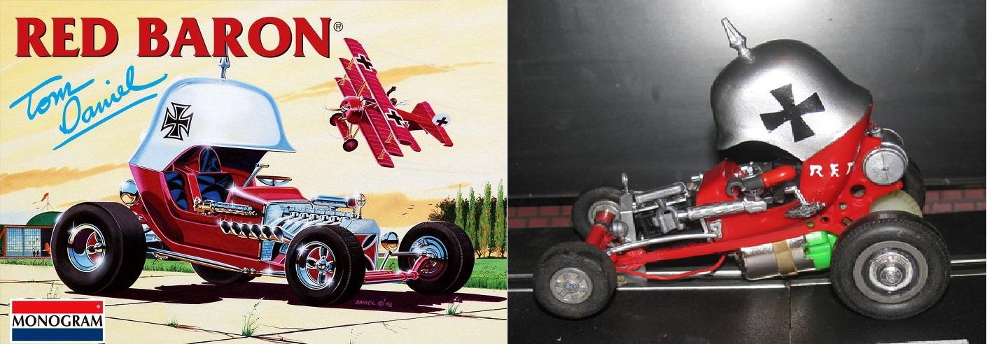 * SOLD * * SUMMER SALE * Vintage Red Baron Hot Rod Roadster Slot Car 1:32 Scale Tom Daniels Monogram
