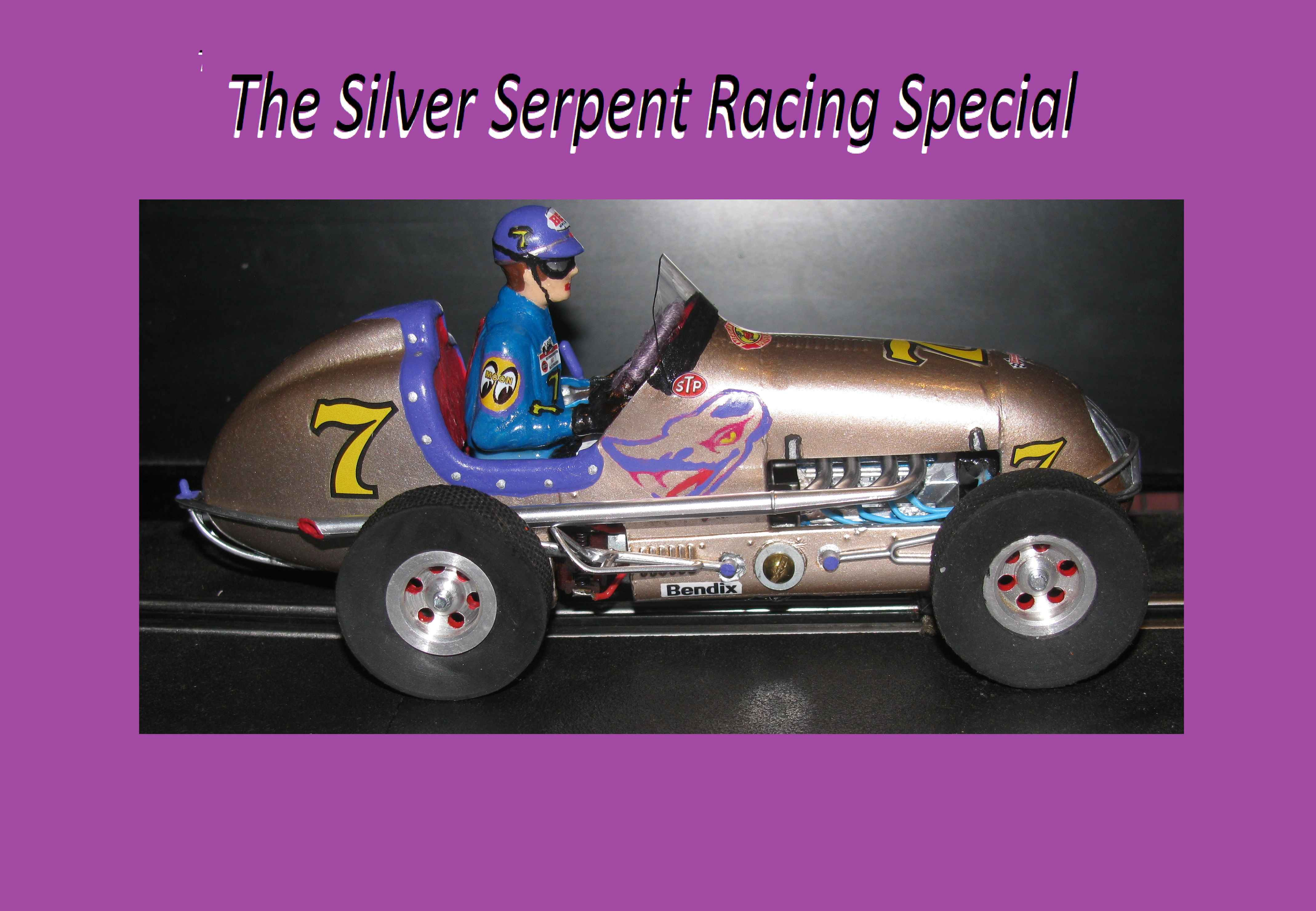 *SOLD* * SPECIAL WEEKEND SALE * Midget Racer Slot Car The Silver Serpent Monogram Racing Special #7