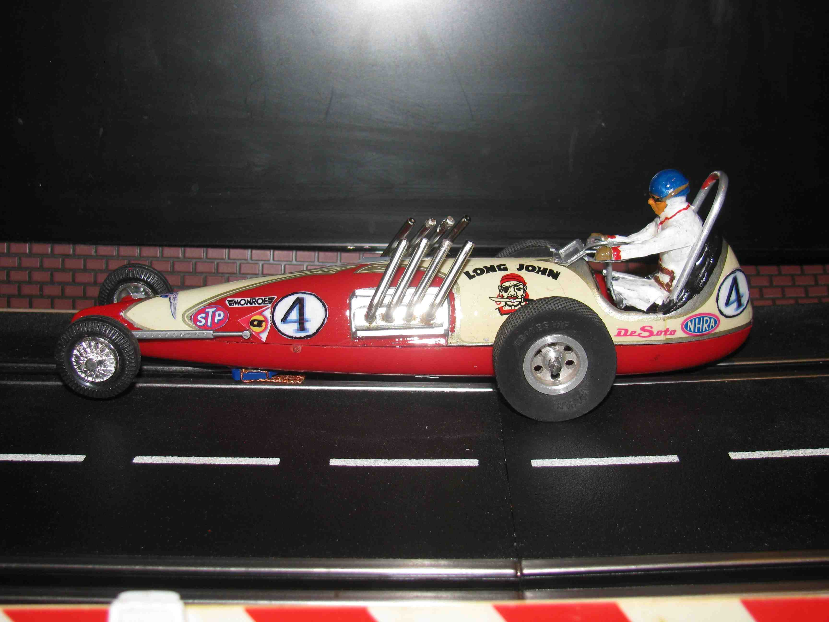 * SOLD * 1 Day Sale - Vintage Monogram Revell Long John Dragster Slot Car 1/32 Scale – Red – Car #4