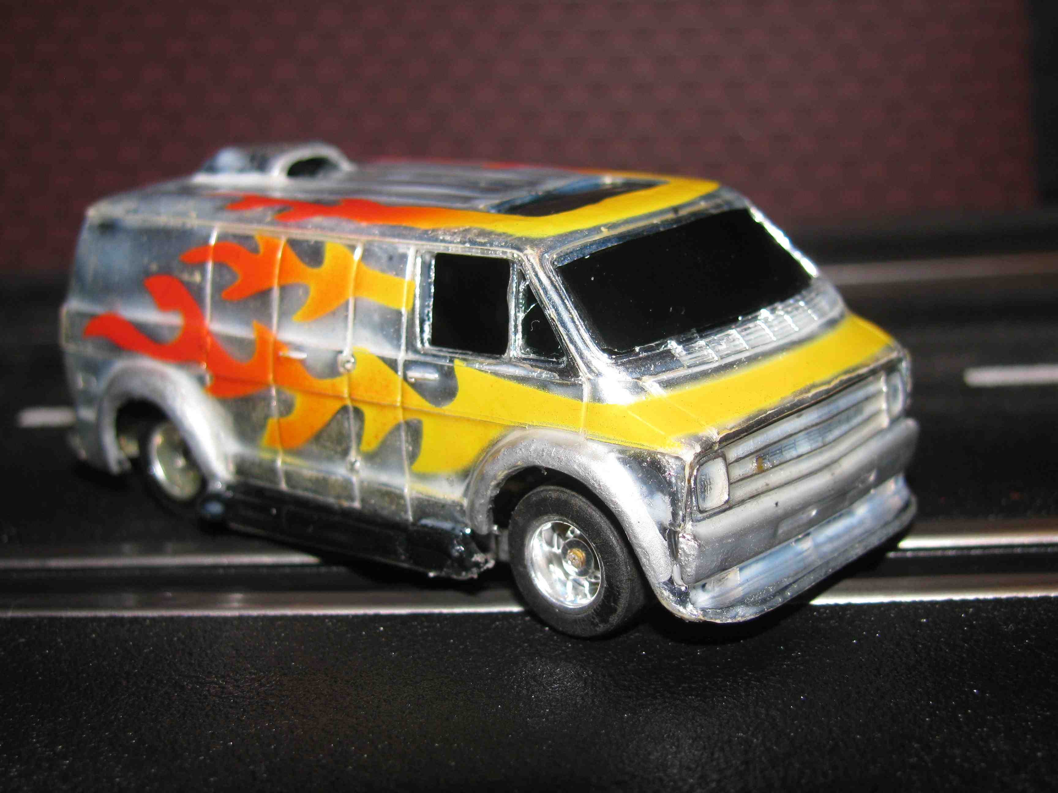 """* SOLD * TYCO Dodge """"Hot Rod"""" Mural Van – Curve Hugger - Slot Car – Chrome with Flames"""
