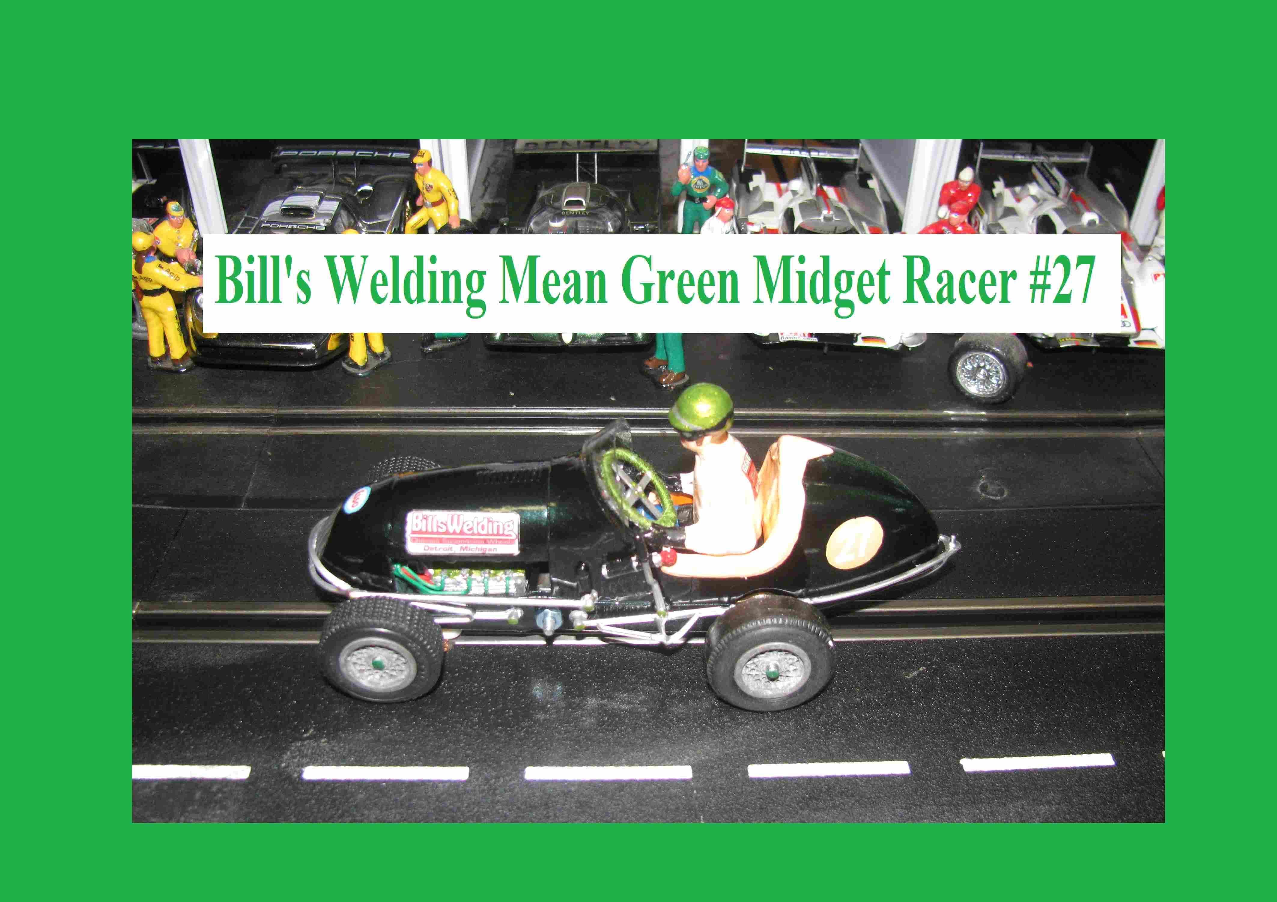 *SOLD to TOM R.* * Sale * Monogram Midget Racer Mean Green Racing Special Slot Car 1/24 Scale (Green Metallic) Car #27