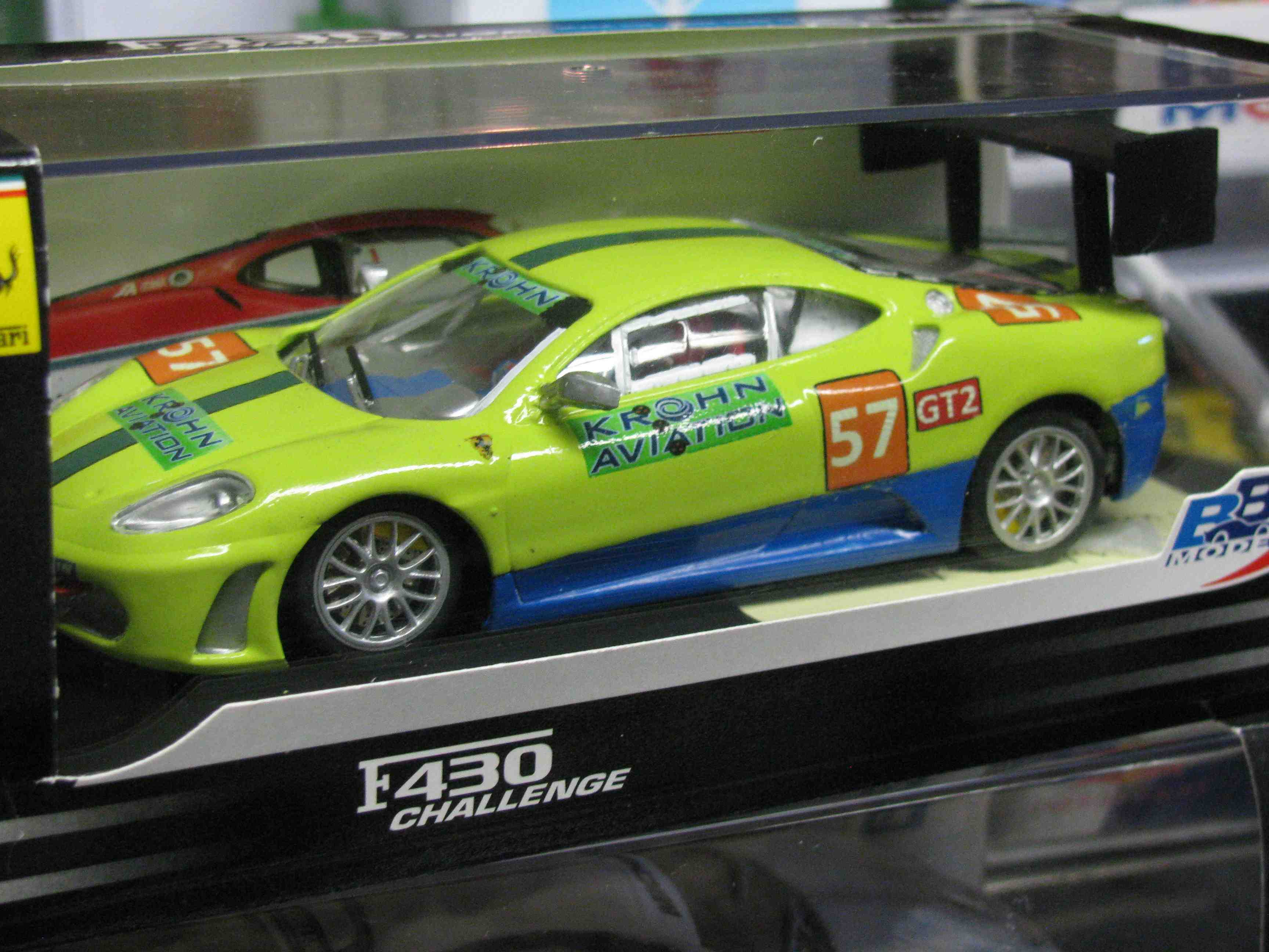 Ferrari F430 KROHN AVIATION Slot Car in Key Lime Green, Custom Decal Design with Custom Rear Spoiler – Car 57