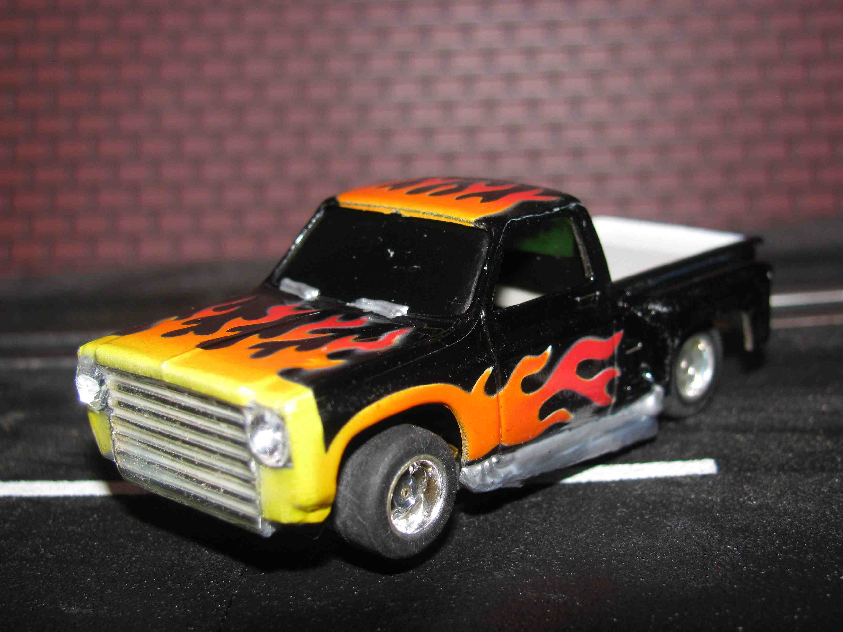 """* SOLD * TYCO """"Hot Rod"""" Pick-up Truck – Curve Hugger - Slot Car – with Flames"""