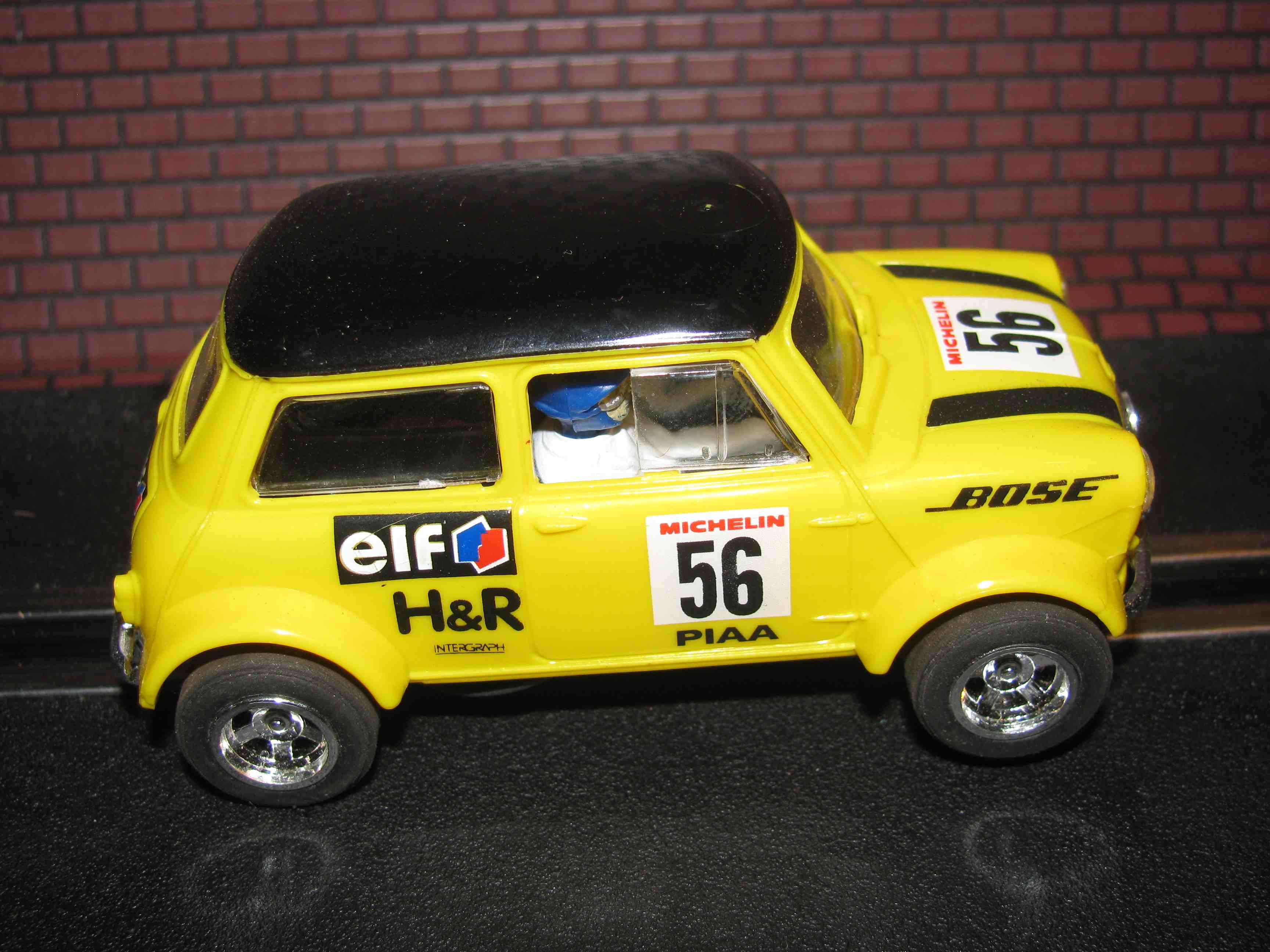 * SOLD * Hornby Mini Cooper Slot Car - Yellow - 1/32 Scale - Car #56 - Made in Great Britain