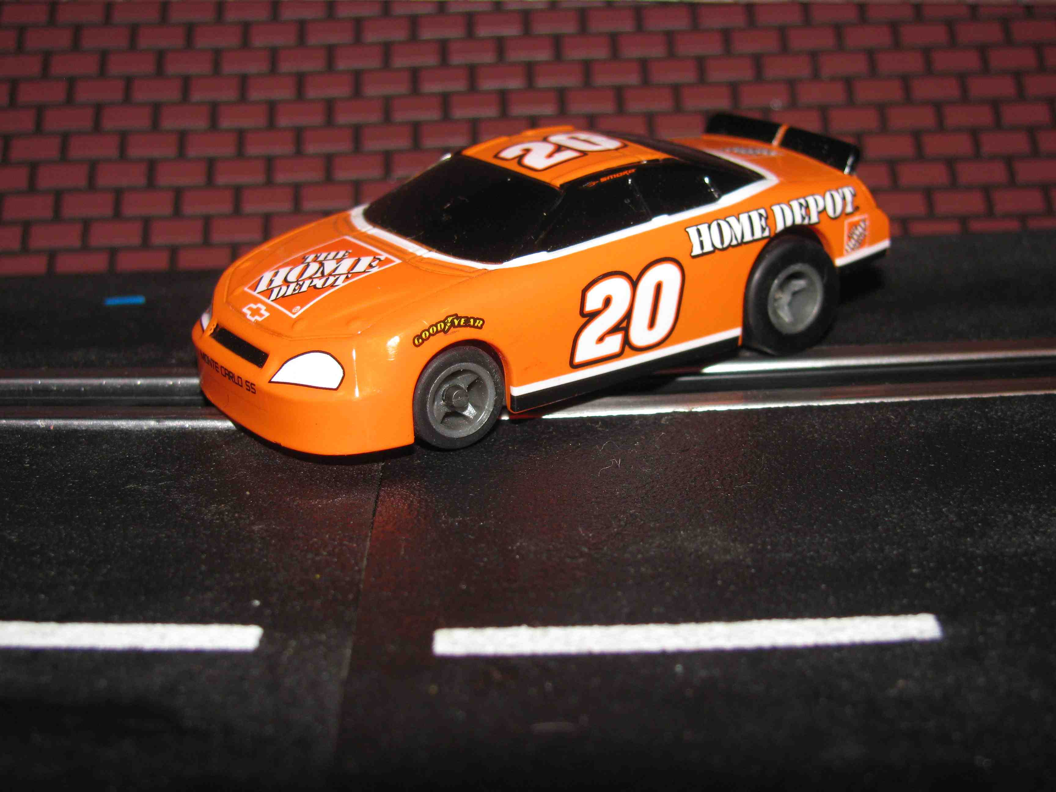 * SOLD * Tyco Like-Like HO Slot Car #20 Monte Carlo SS (Home Depot) with Guide Post
