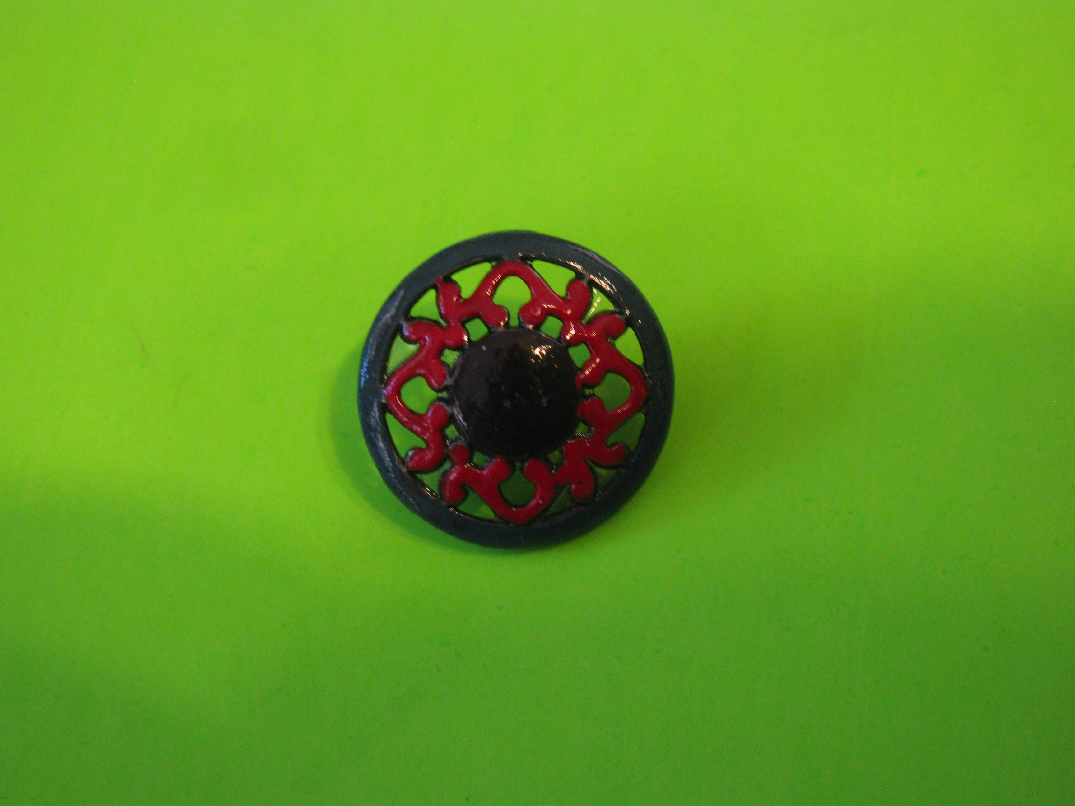 Vintage Metal Button with Colorful Design and Metal Loop Shank
